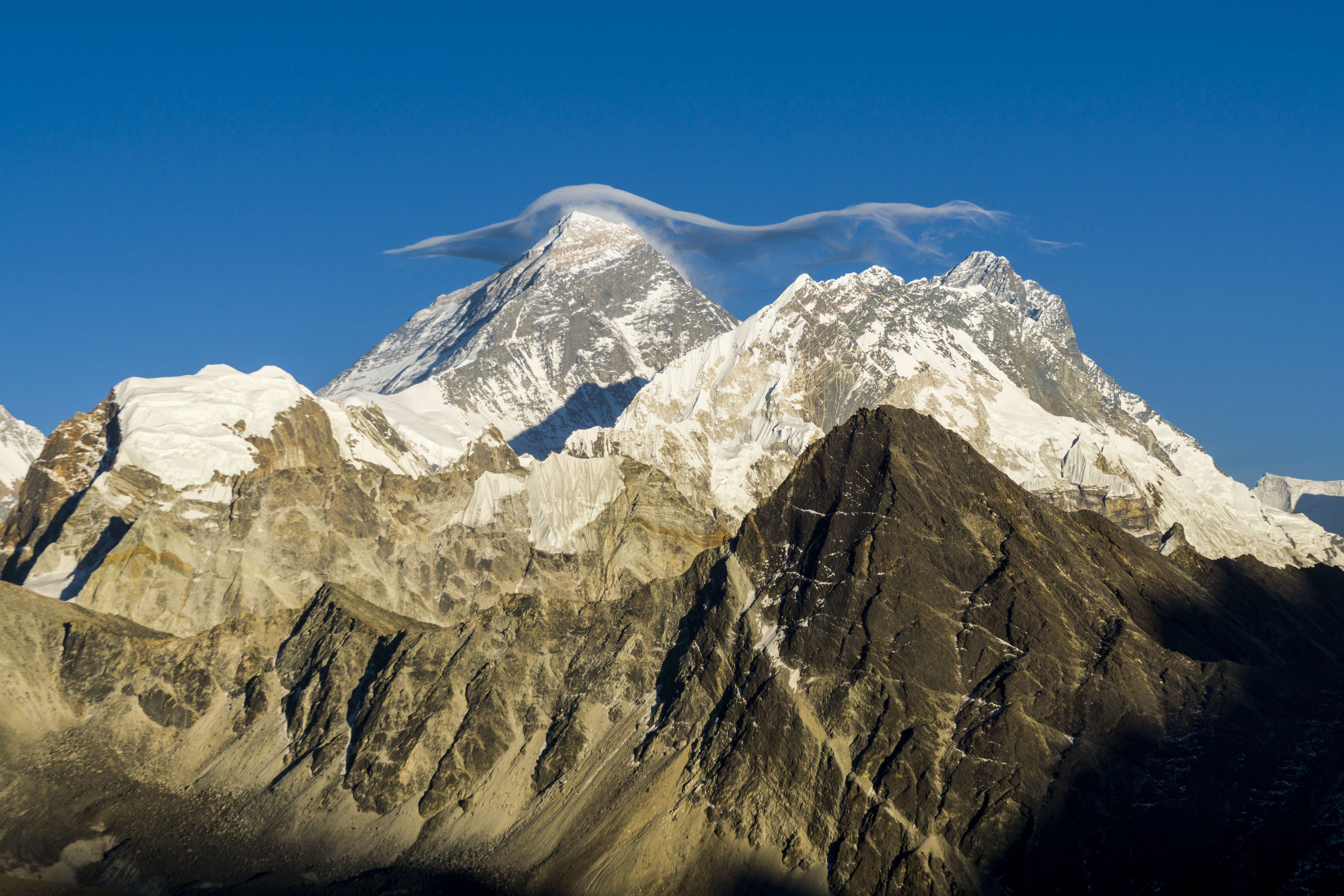 Mt. Everest  with a white cloud on top, seen from Gokyo Ri at sunset.