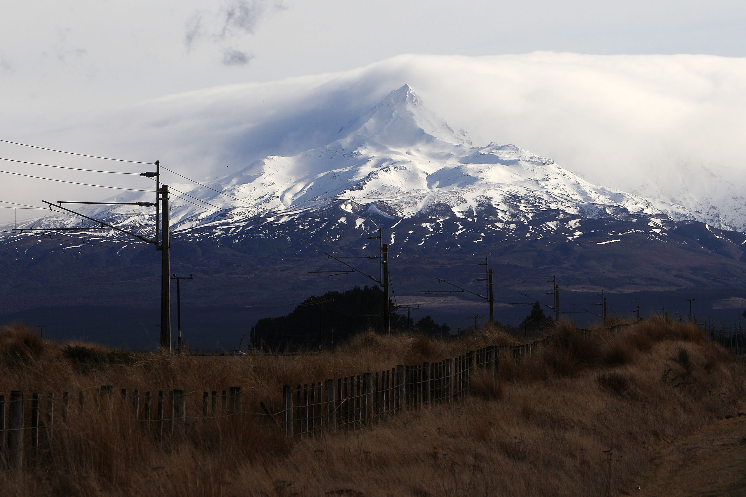 A general view of Mt Ruapehu from Waiouru in Tongariro National Park, New Zealand, on Aug. 7, 2012.