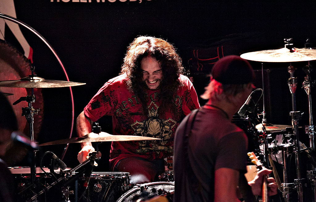 Nick Menza performs on Oct. 17, 2013 in West Hollywood, California.