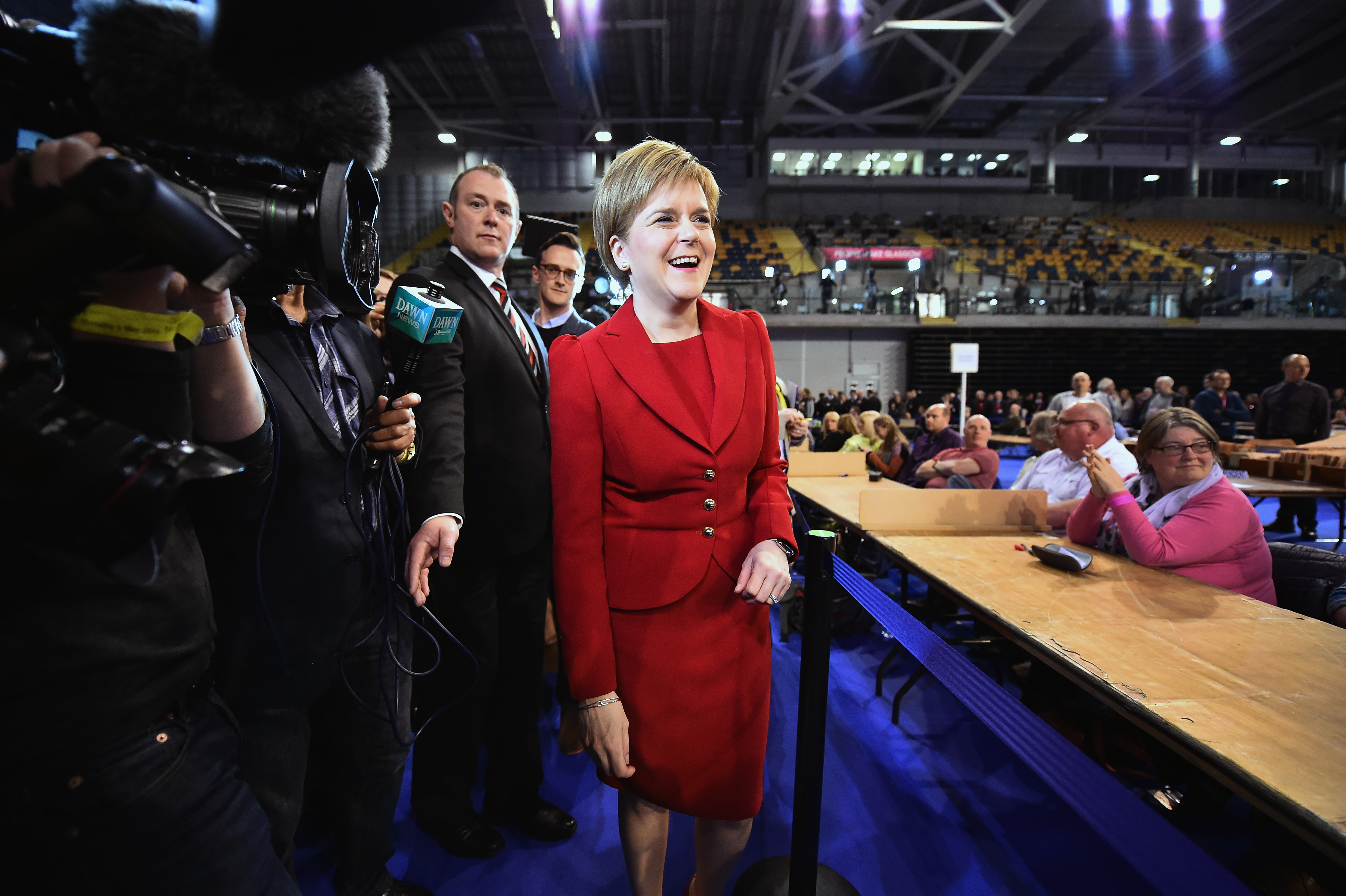 SNP leader Nicola Sturgeon arrives at the count for the Scottish Parliament elections at the Emirates Arena on May 6, 2016 in Glasgow,Scotland.