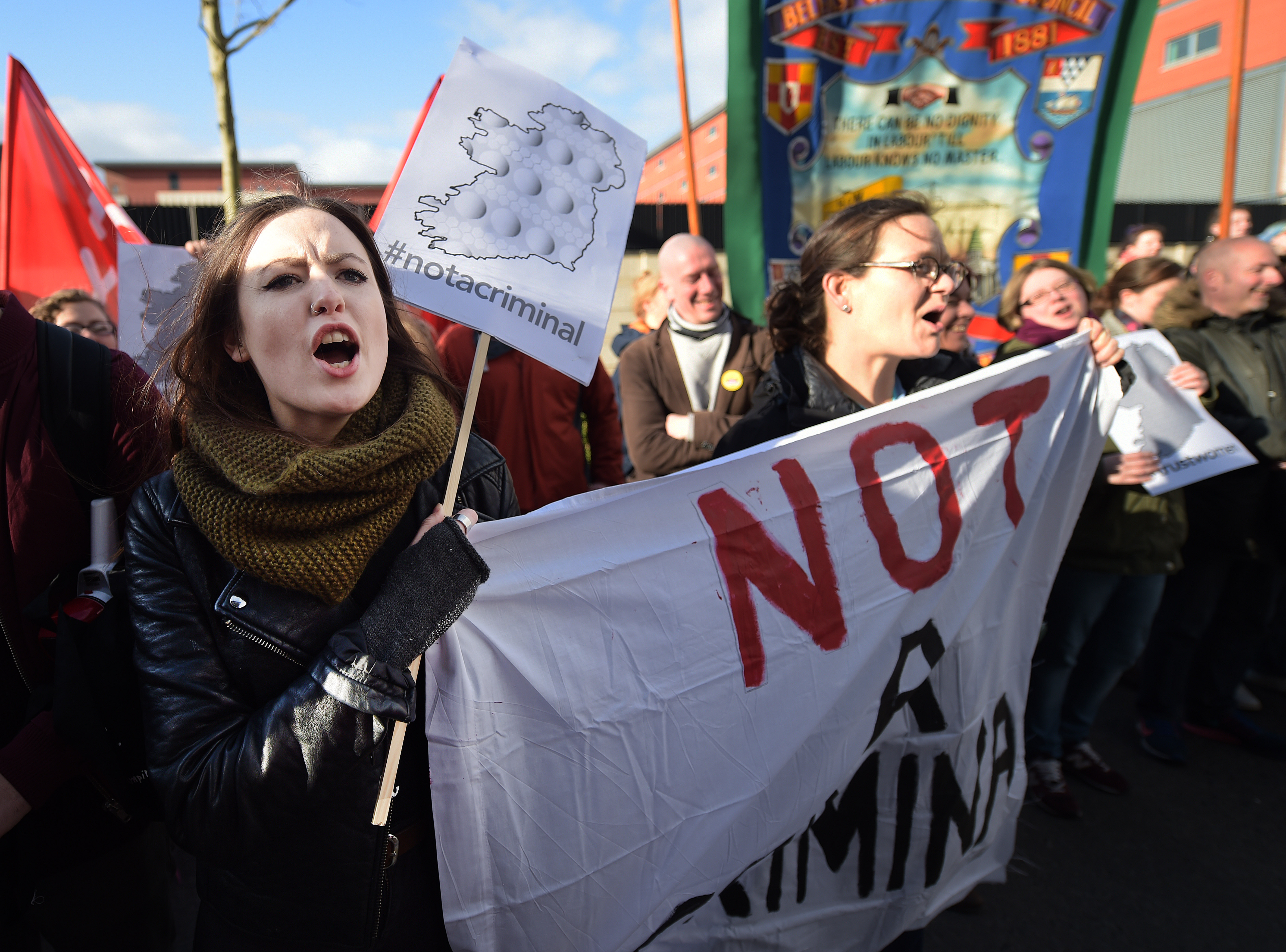 Pro choice supporters protest outside the Public Prosecution Office on April 7, 2016 in Belfast, Northern Ireland.
