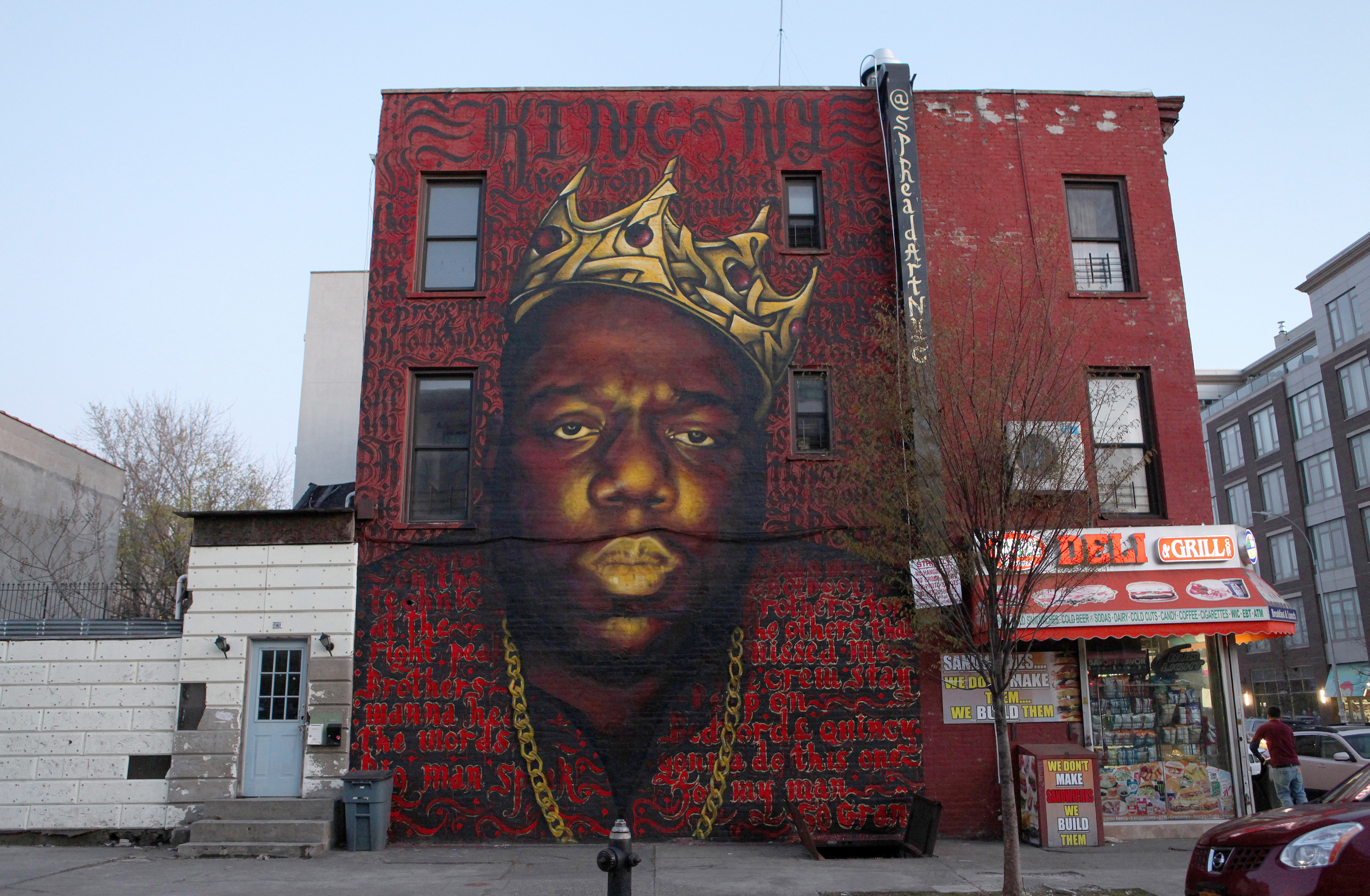 Scott 'Zimer' Zimmerman and Naoufal 'Rocko' Alaoui's mural of late rapper Christopher 'Notorious B.I.G.' Wallace in the Bedford-Stuyvesant neighborhood of Brooklyn, New York on April 15, 2016.