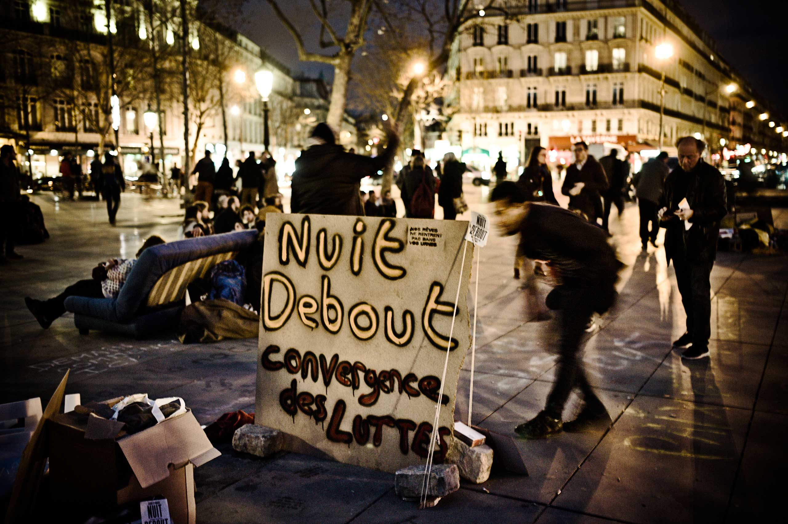 "The movement of the Nuit Debout,  loosely translated as ""Standing Up at Night,"" at the Place de la République in Paris, April 4, 2016."