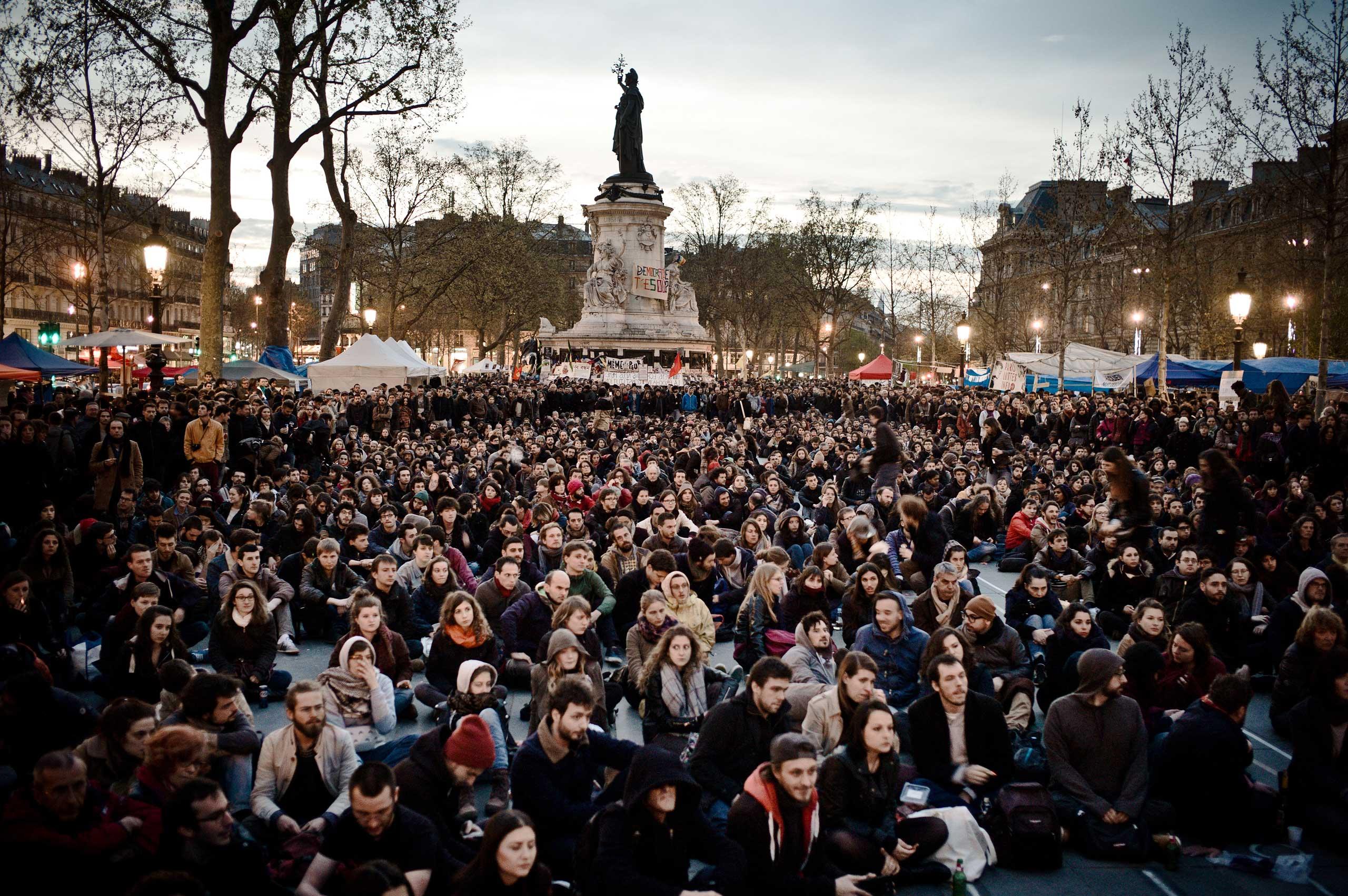 Nuit Debout  at the Place de la République in Paris, April 16, 2016.