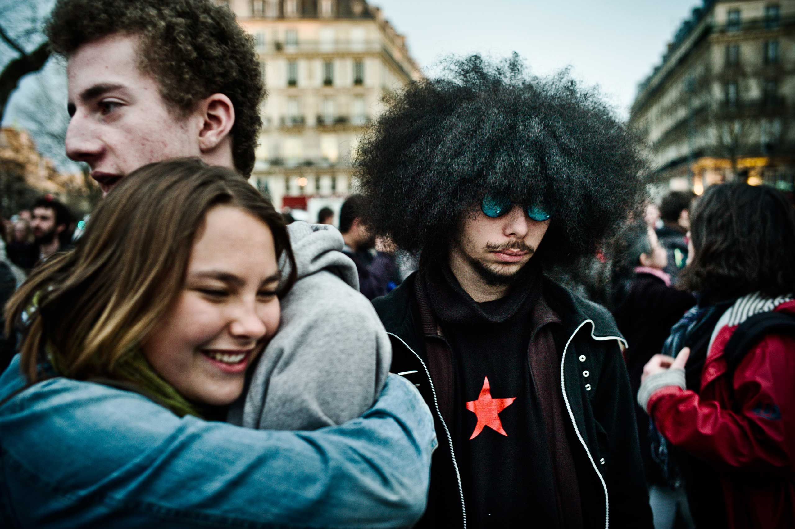 People coming together at the Nuit Debout, April 4, 2016.