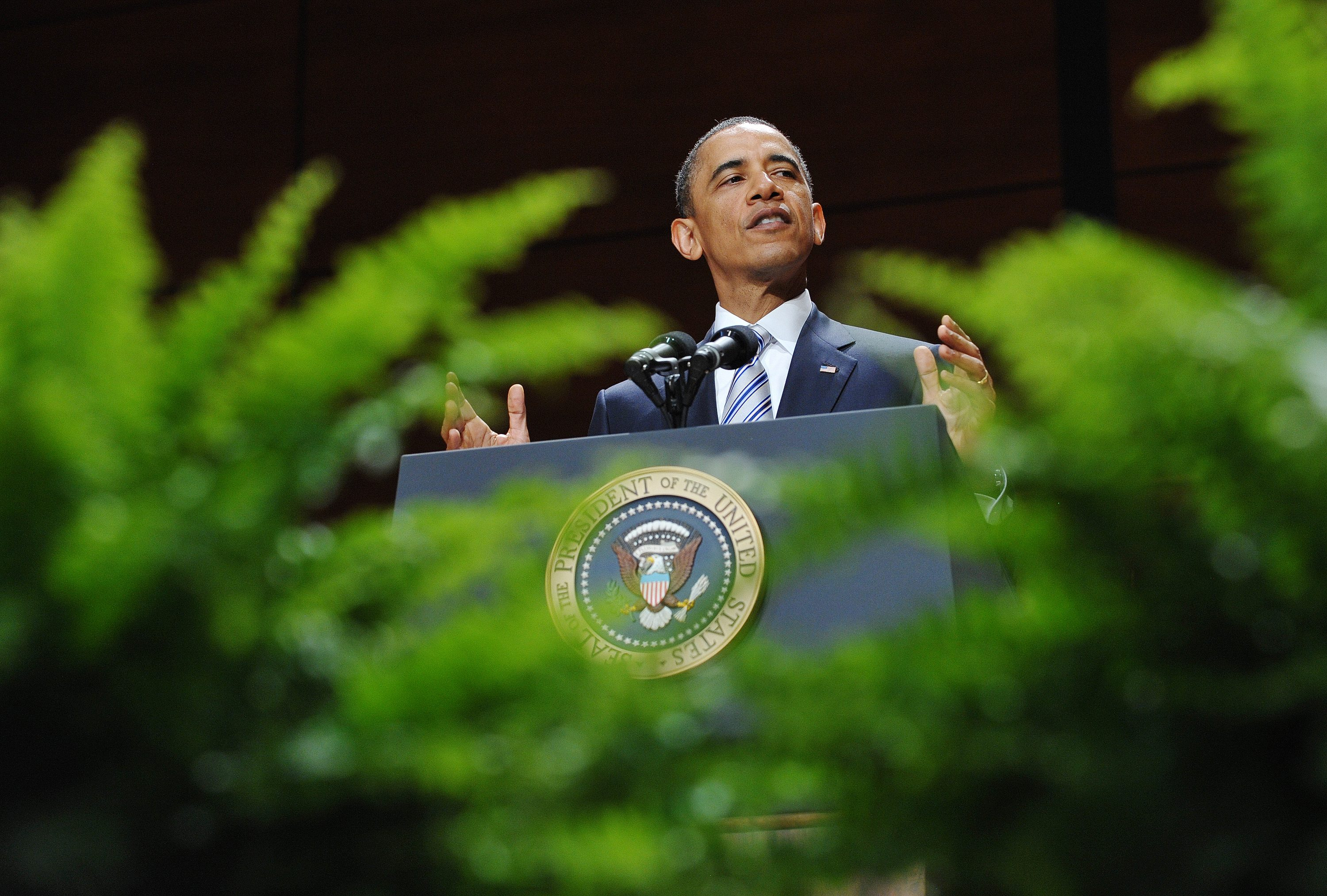 President Barack Obama delivers the commencement address on May 18, 2011 at the United States Coast Guard Academy in New London, Connecticut.