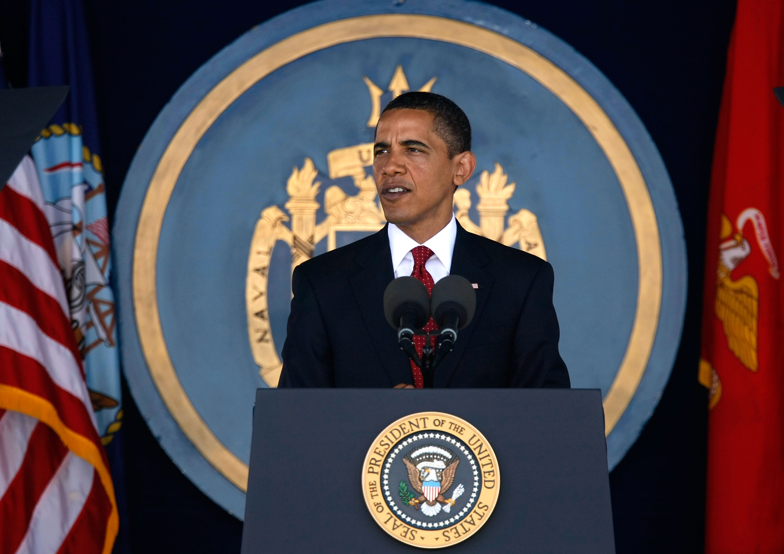 U.S. President Barack Obama speaks during the annual Naval Academy Graduation and Commissioning Ceremony at the Navy-Marine Corps Memorial Stadium May 22, 2009 in Annapolis, Maryland. Obama delivered commencement address to the 1036 graduates of the class of 2009.