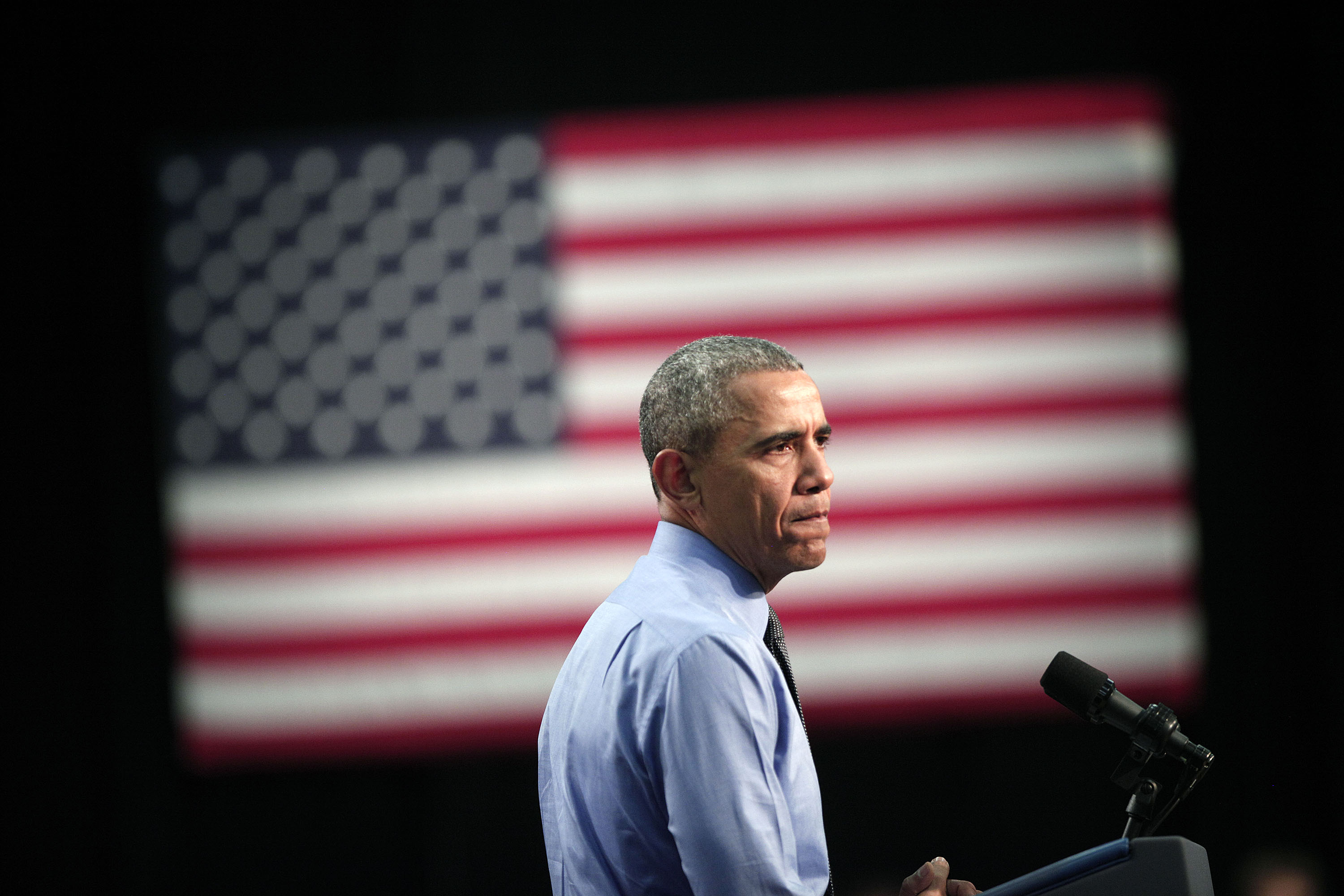 President Barack Obama speaks at Northwest High School about the Flint water contamination crisis on May 4 in Flint, Michigan.
