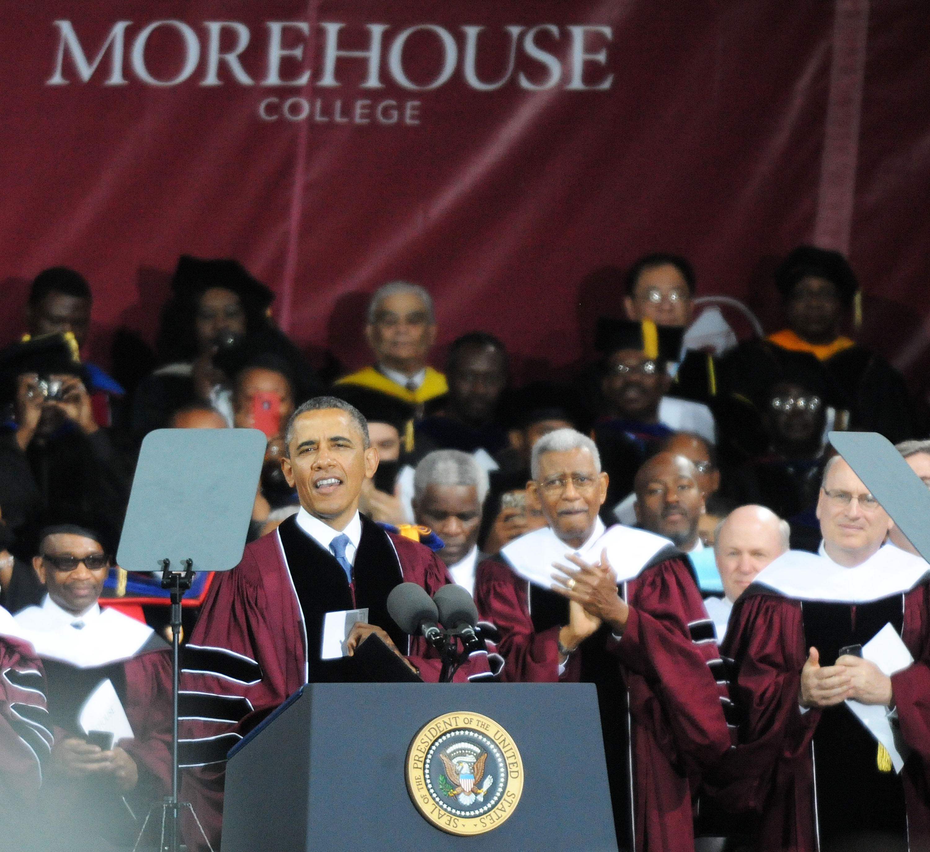 President Obama delivers remarks during the Morehouse College commencement on May 19, 2013 in Atlanta, Georgia.