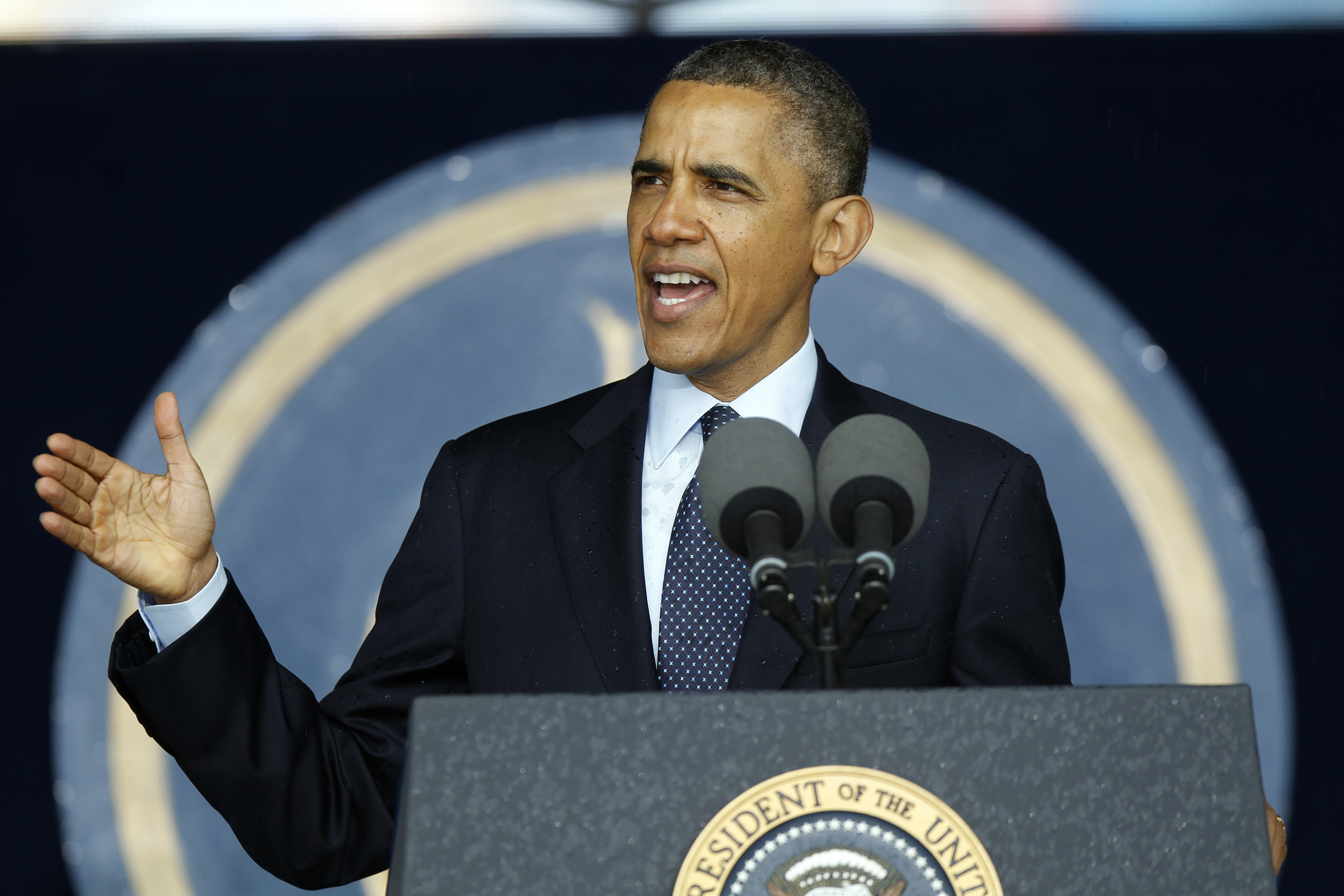 President Barack Obama speaks during the U.S. Naval Academy Graduation on May 24, 2013 in Annapolis, Maryland.