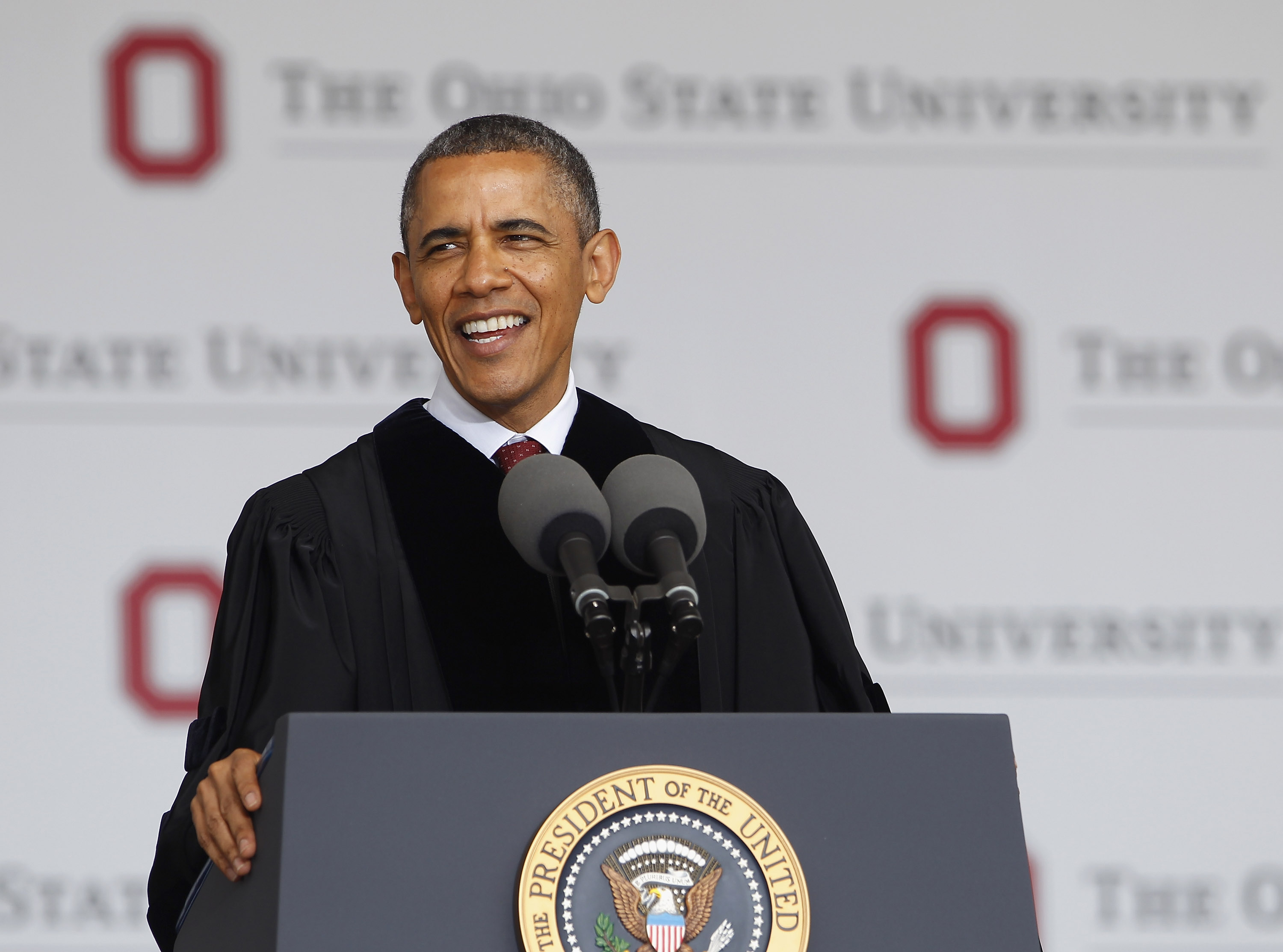 President Barack Obama gives the commencement address to the graduating class of The Ohio State University on May 5, 2013 in Columbus, Ohio.