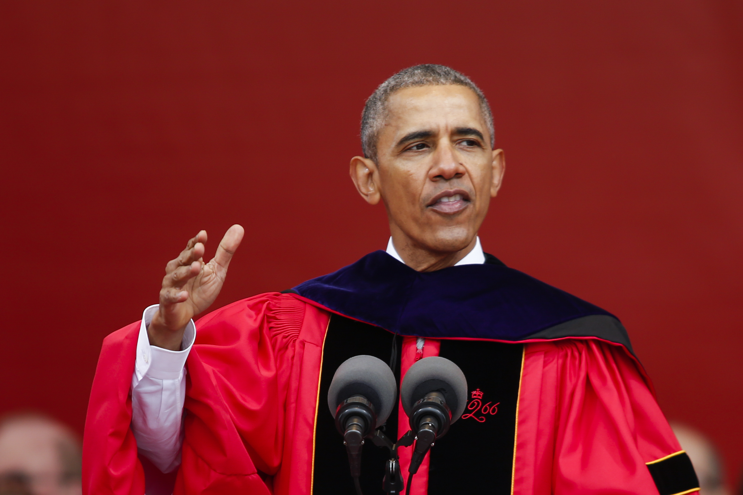 President Barack Obama speaks to students and attenders after receiving an honorary doctorate of laws during the 250th anniversary commencement ceremony at Rutgers University on May 15, 2016 in New Brunswick, New Jersey.
