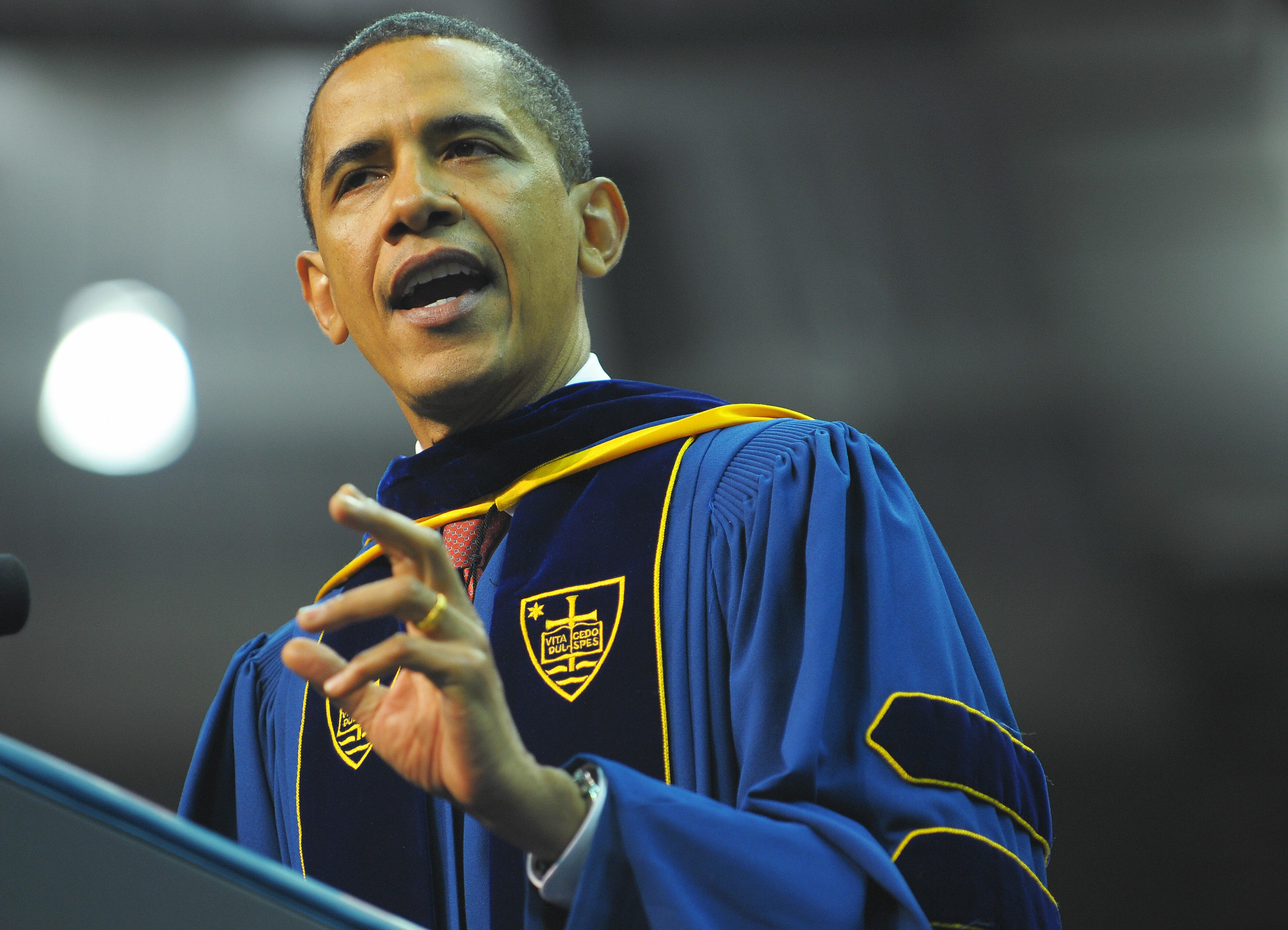 US President Barack Obama speaks during the commencement ceremony in the Joyce Center of Notre Dame University in South Bend, Indiana, May 17, 2009.
