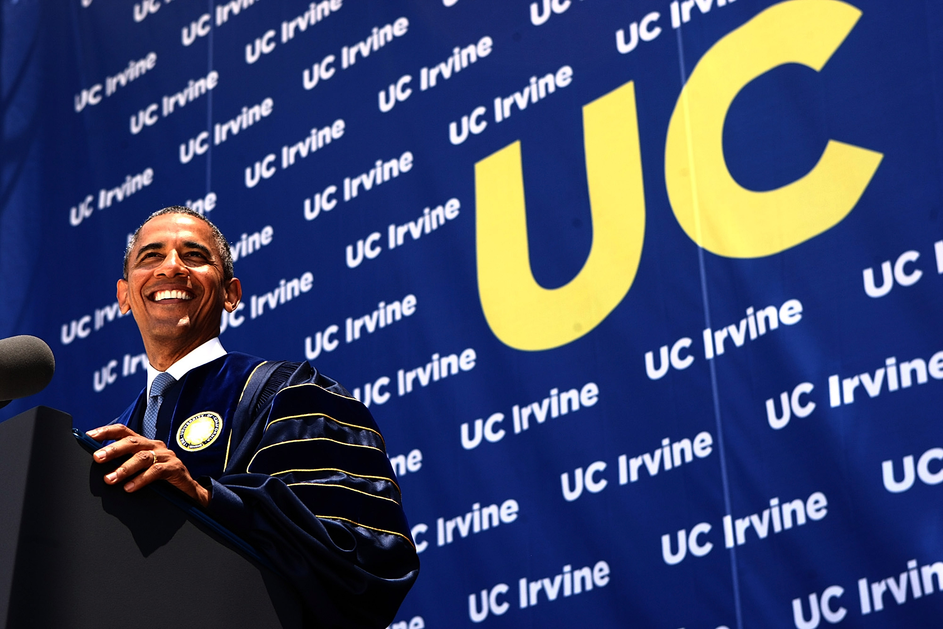 President Barack Obama speaks at the UC Irvine commencement ceremony on June 14, 2014 in Anaheim, California.