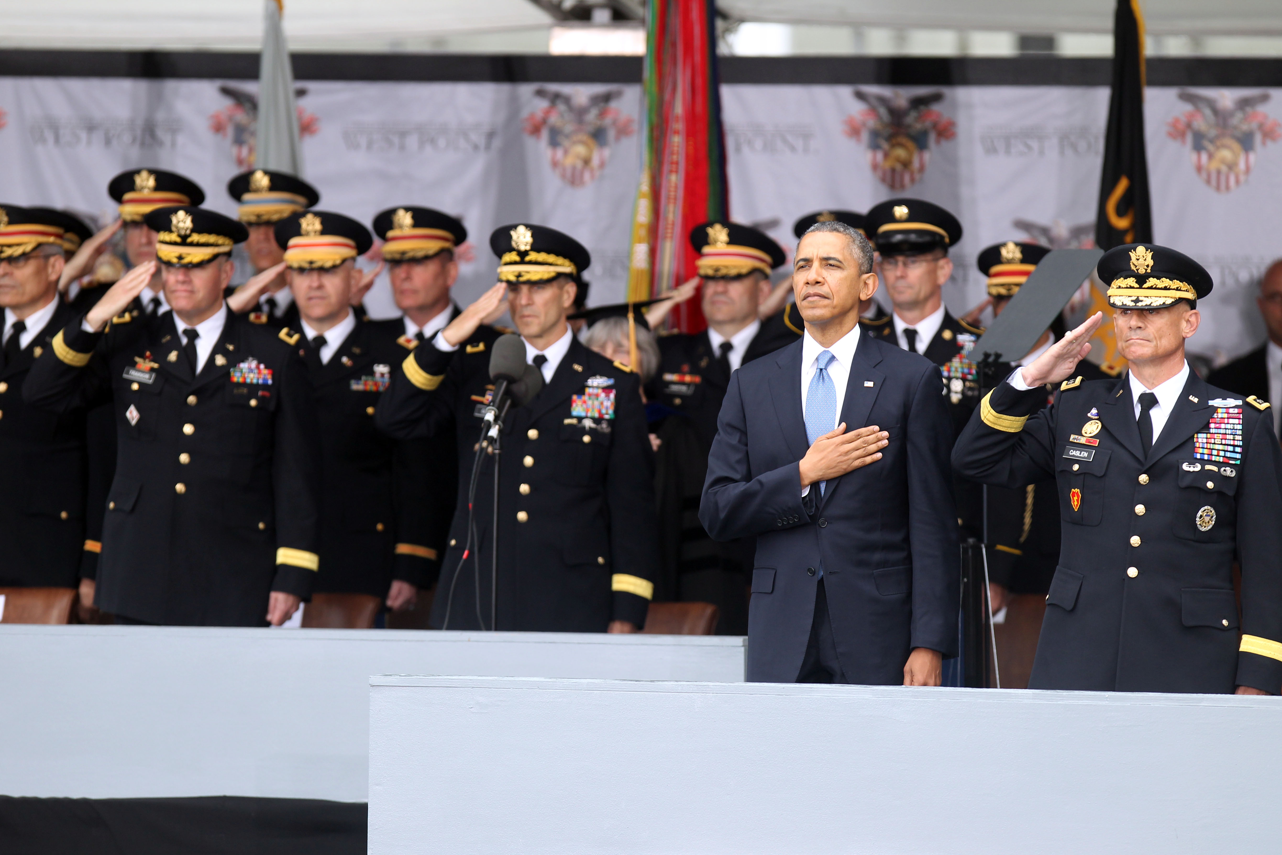 President Barack Obama attends the West Point Graduation on May 28, 2014 in West Point, New York.