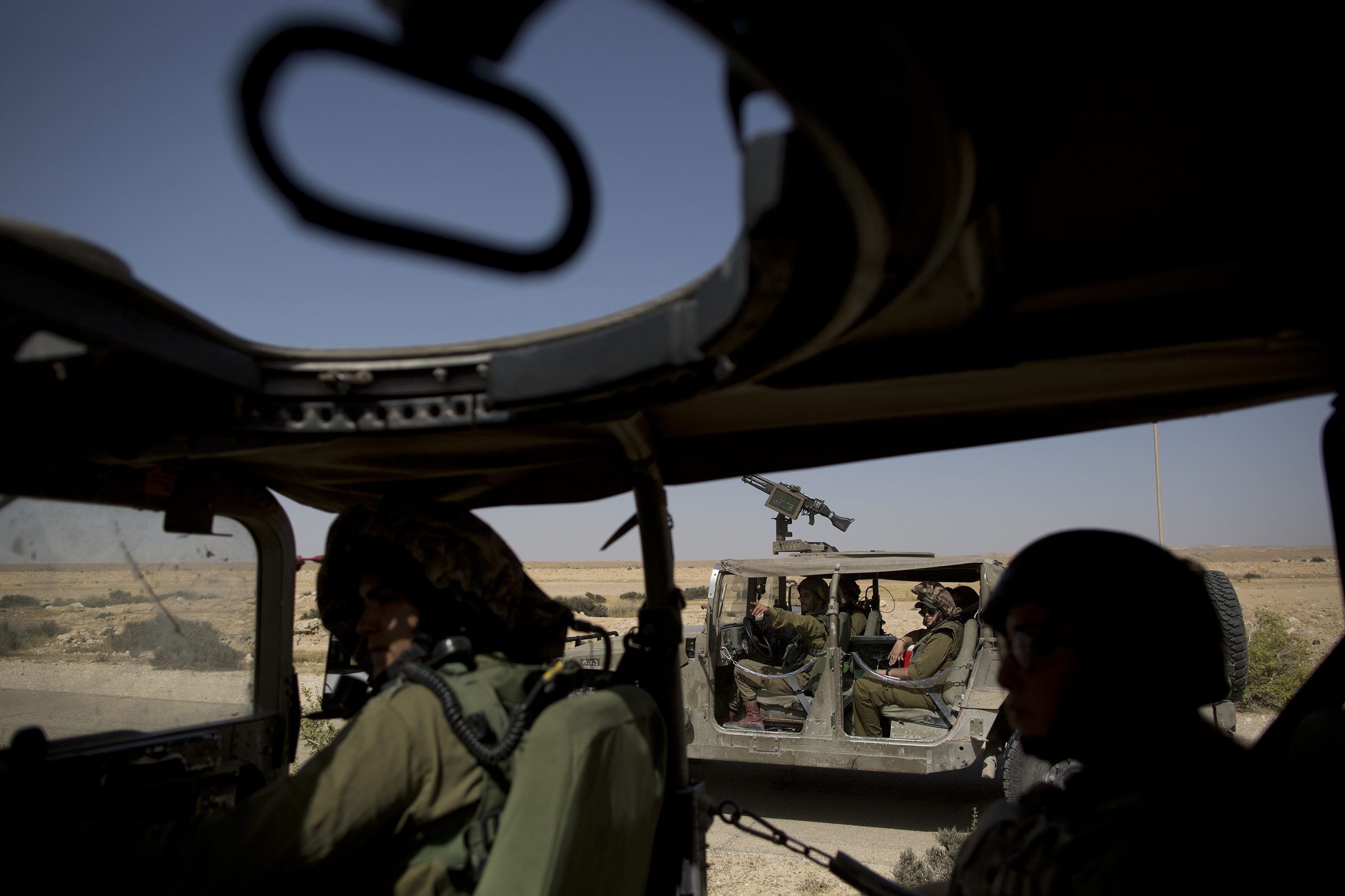 Israeli soldiers patrol in vehicles along the southern Israeli-Egyptian border, May 2, 2016.
