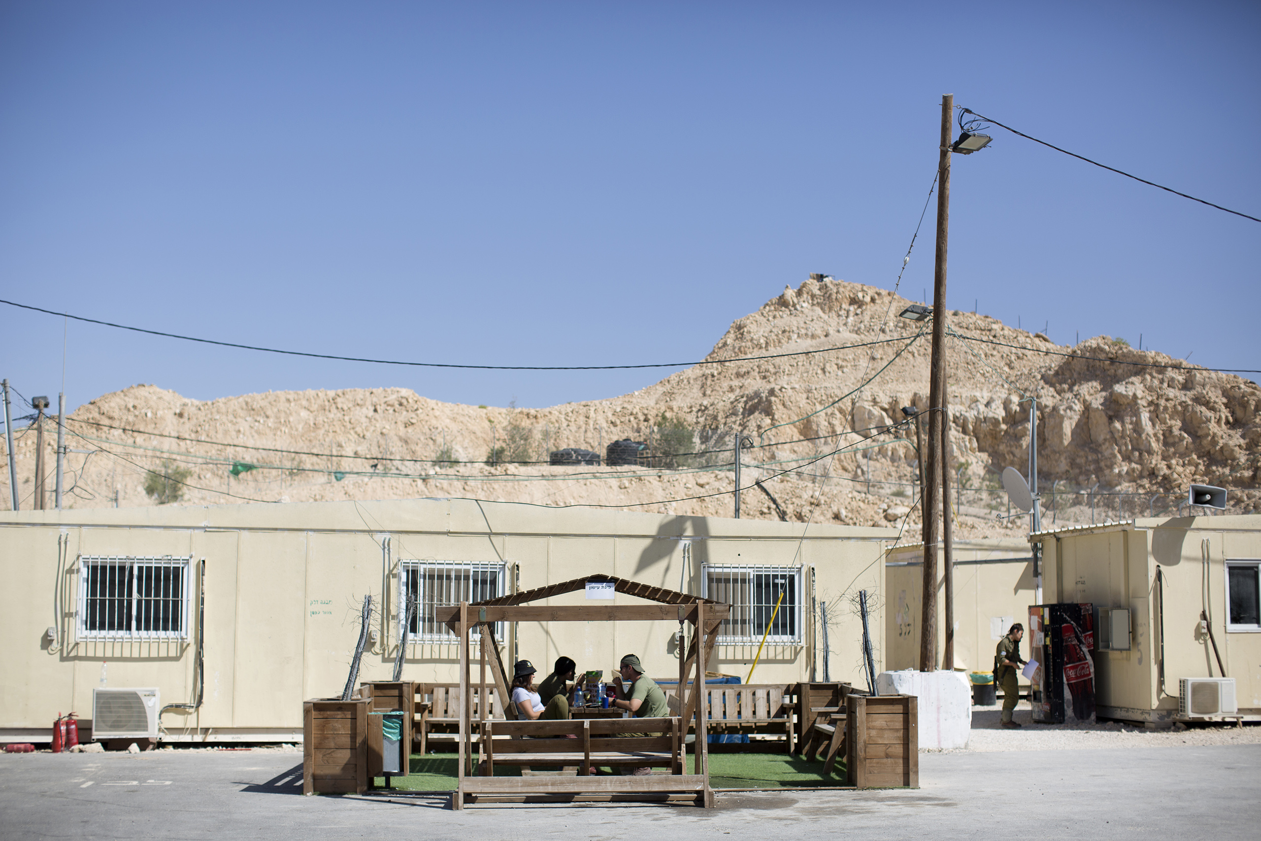 Israeli soldiers rest in a base located on the southern border with Egypt, May 2, 2016.