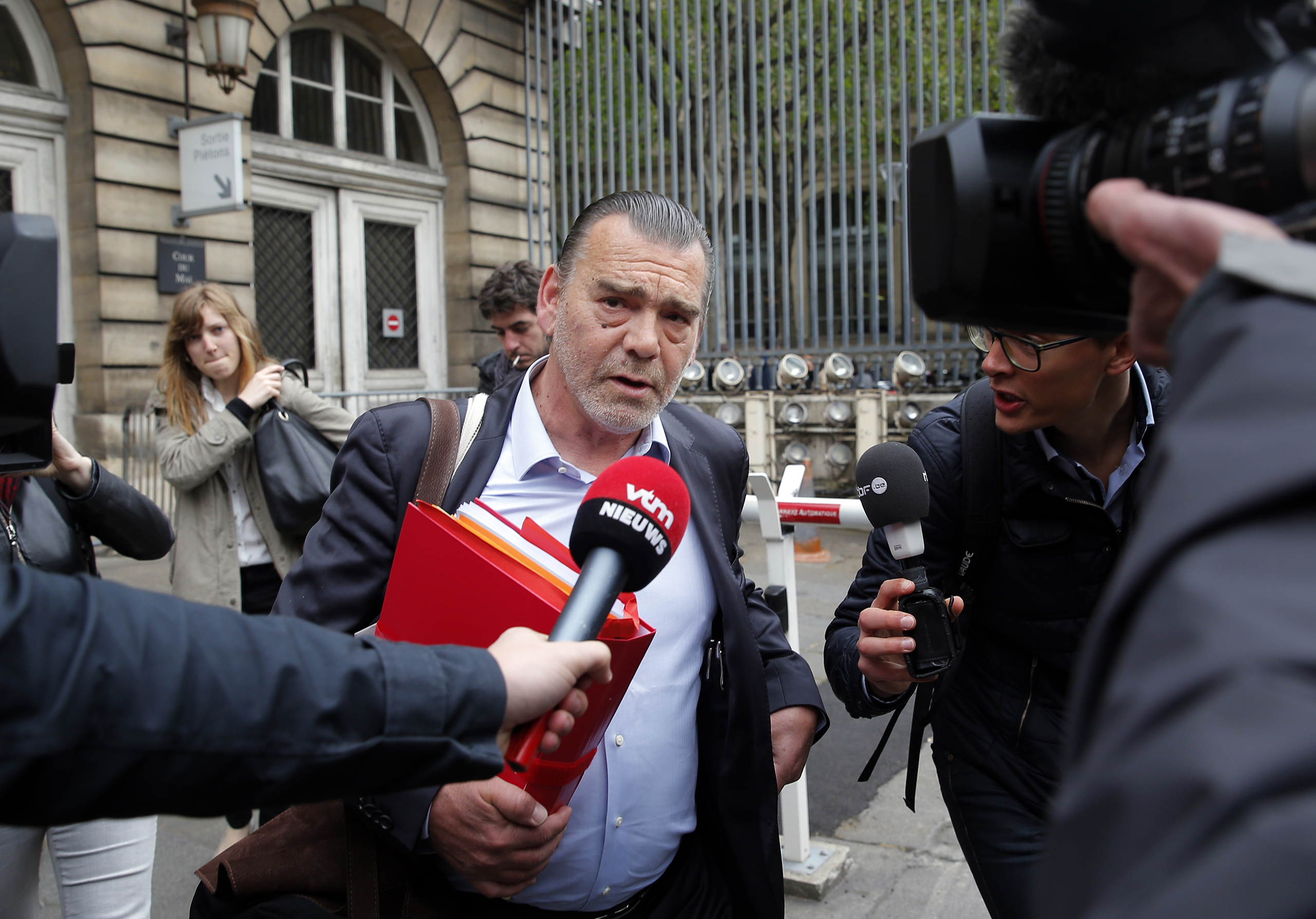 Frank Berton, lawyer of Paris attacks suspect Salah Abdeslam, addresses the media as he arrives at the courthouse In Paris, May 20, 2016.