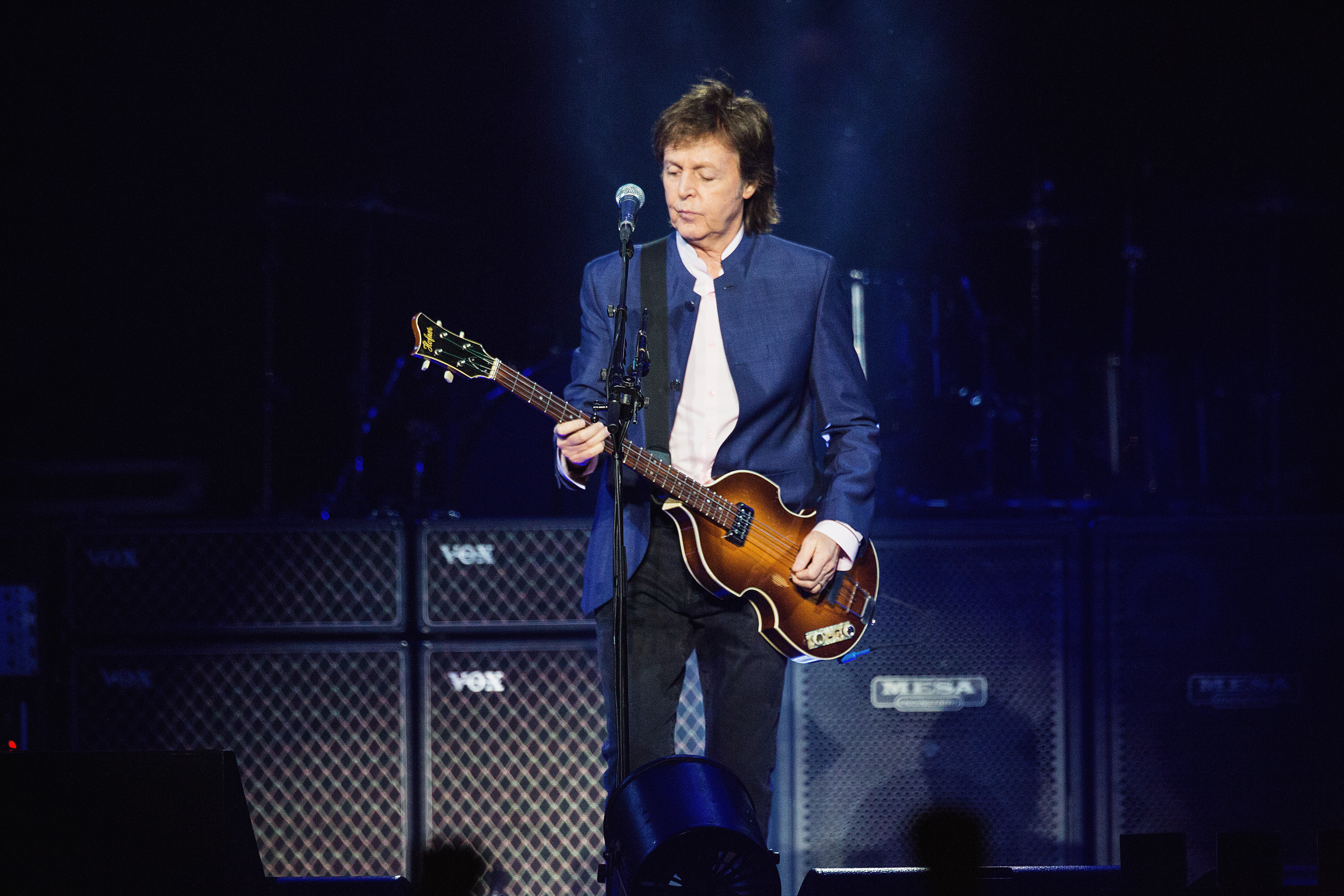Paul McCartney performs on stage during the 'One on One' tour at Key Arena on April 17, 2016 in Seattle, Washington.