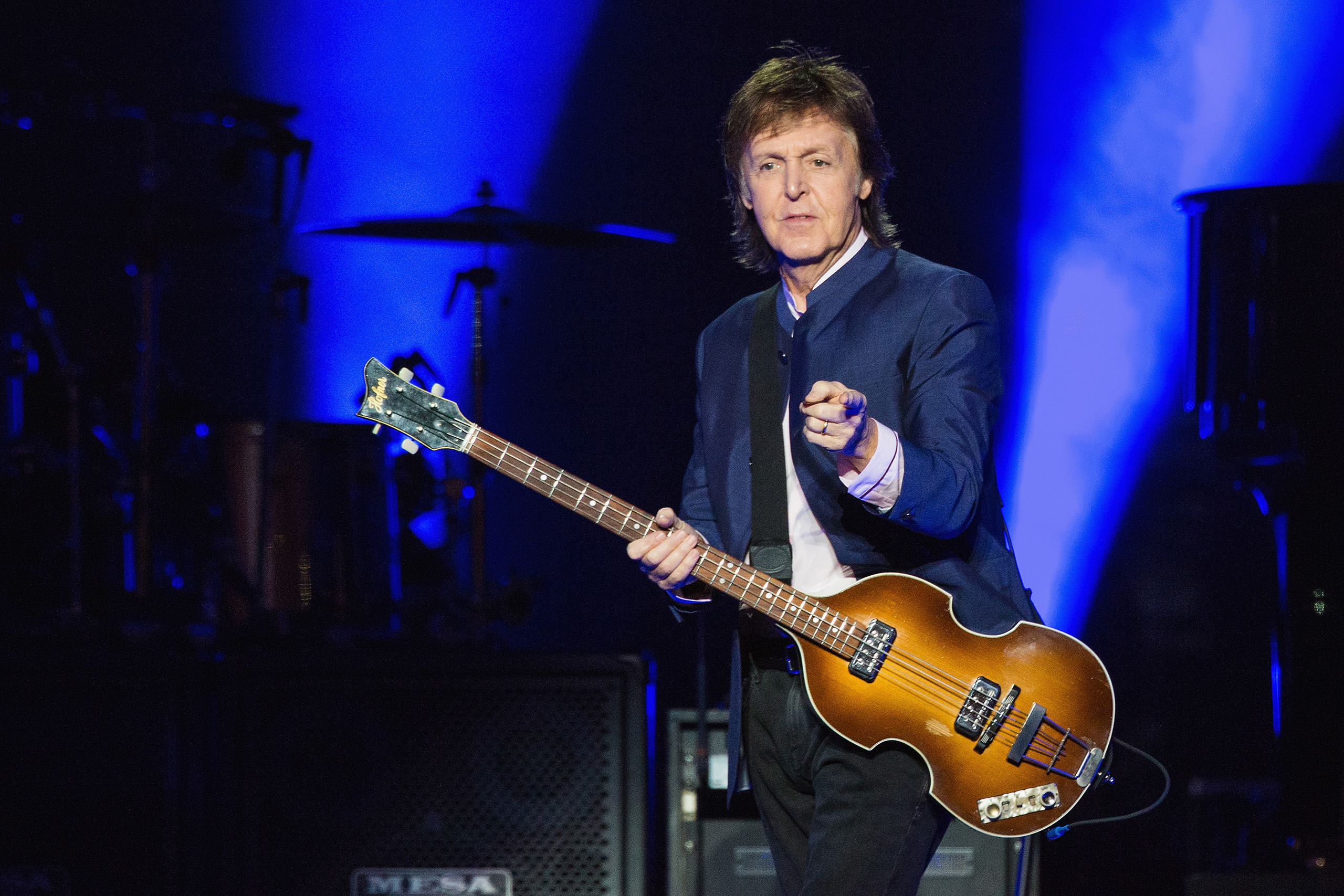 Paul McCartney performs on stage during the 'One on One' tour in Seattle, Washington, April 17, 2016.