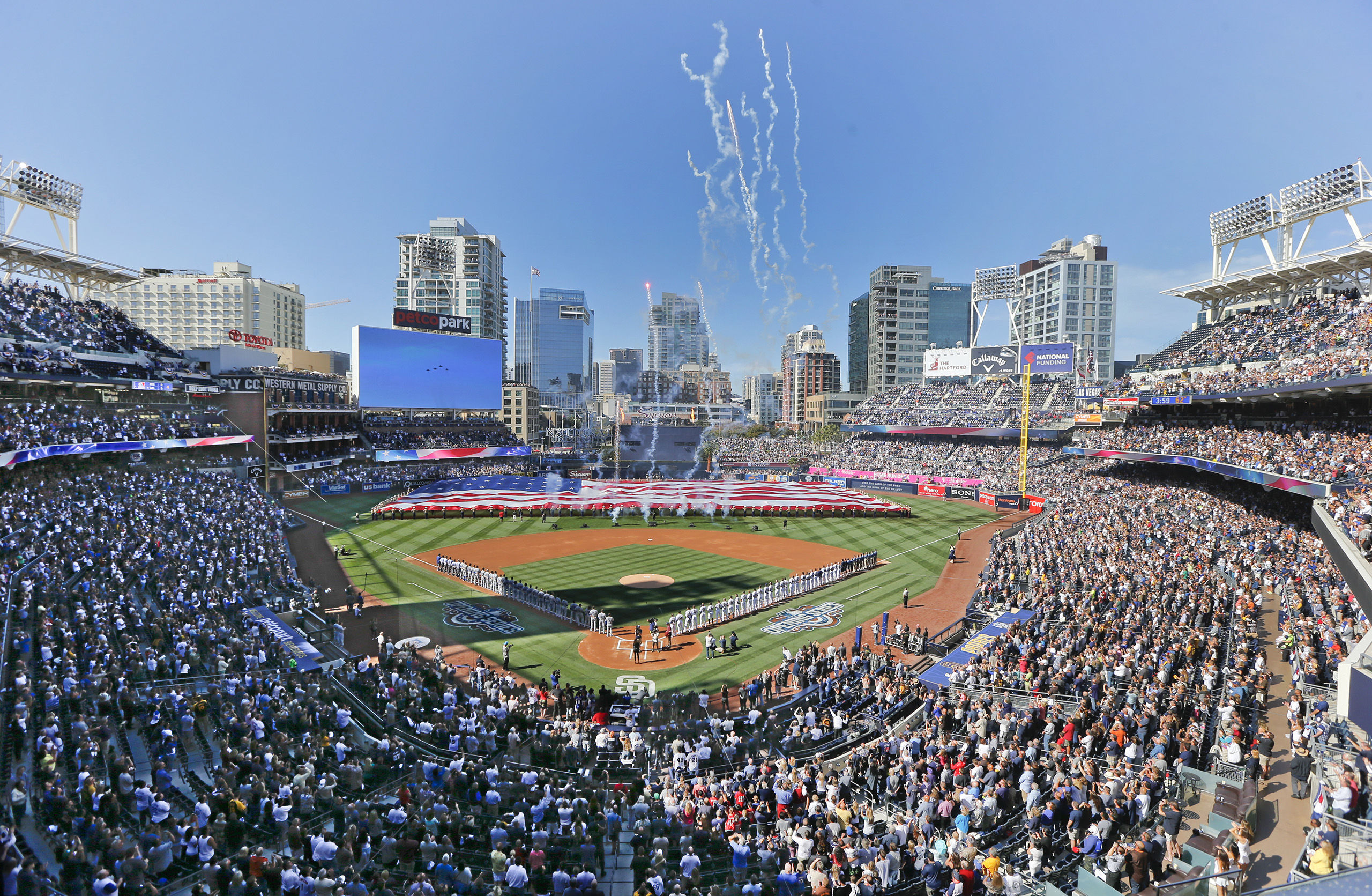Opening day ceremonies are performed at Petco Park before a baseball game between the Los Angeles Dodgers and the San Diego Padres in San Diego, April 4, 2016.