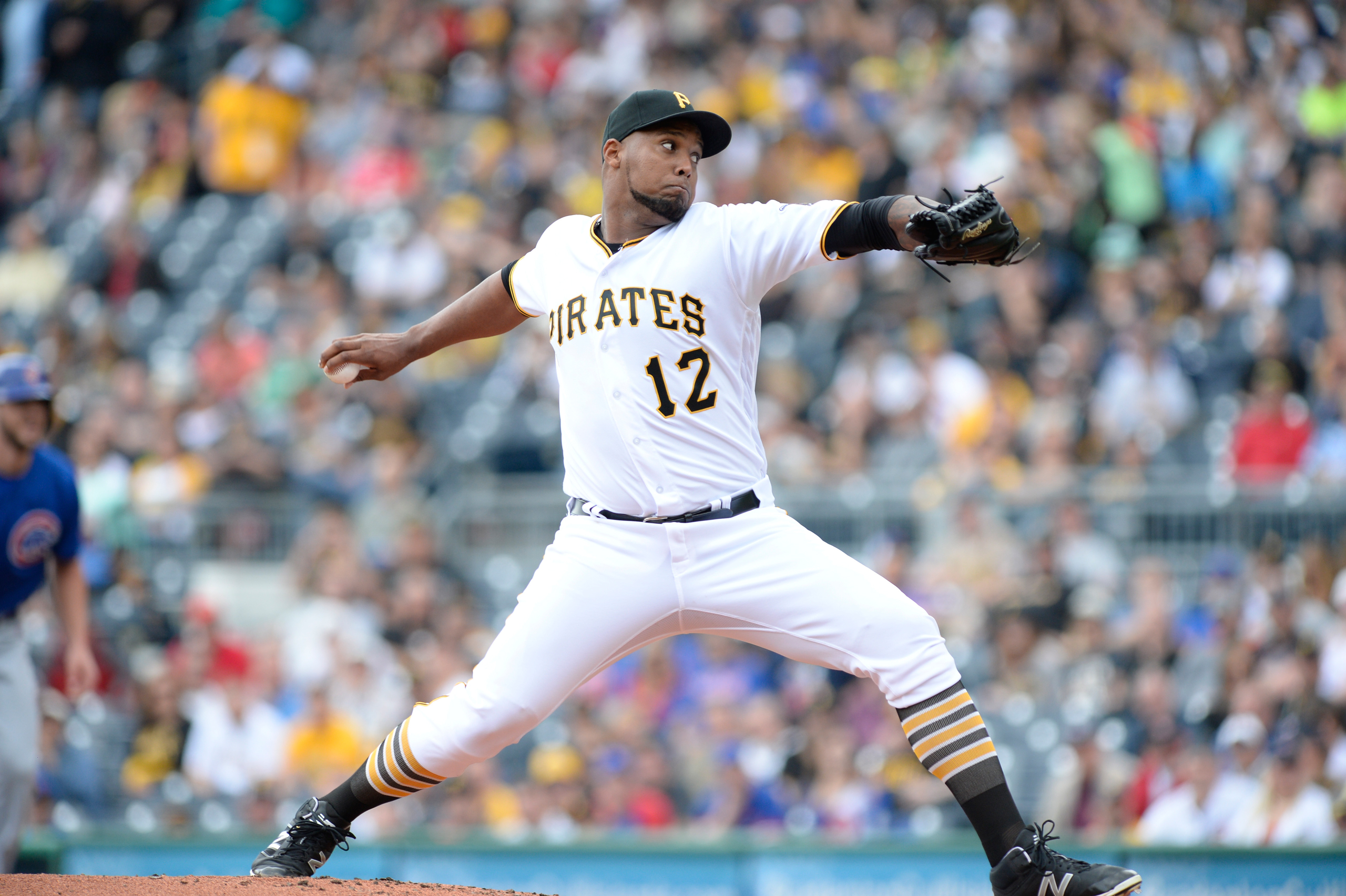 Pittsburgh Pirates starting pitcher Juan Nicasio delivers a pitch during a game versus the Chicago Cubs at PNC Park in Pittsburgh, PA., on May 4, 2016.