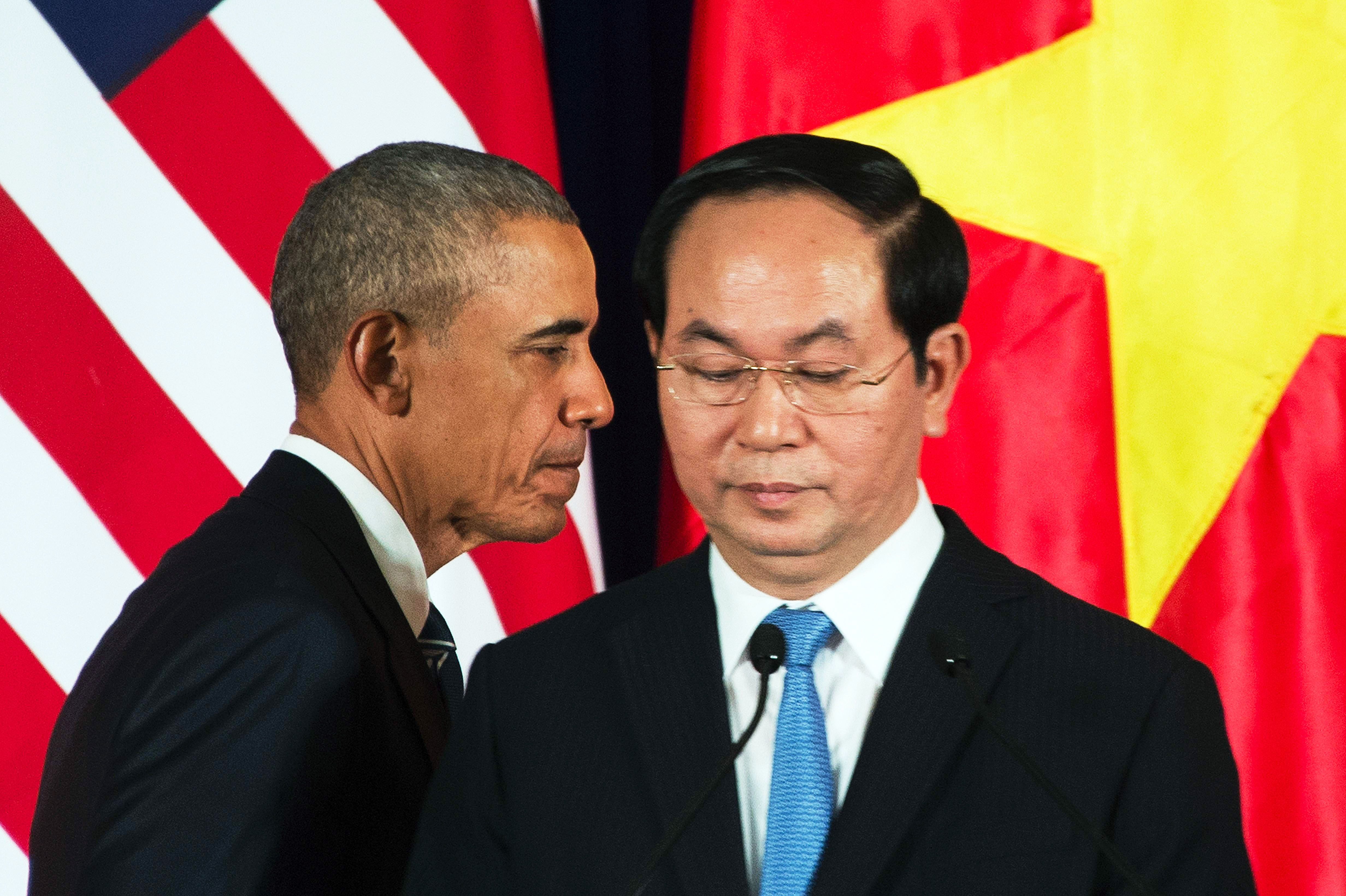 President Barack Obama and President Tran Dai Quang take part in a joint press conference in Hanoi on May 23.