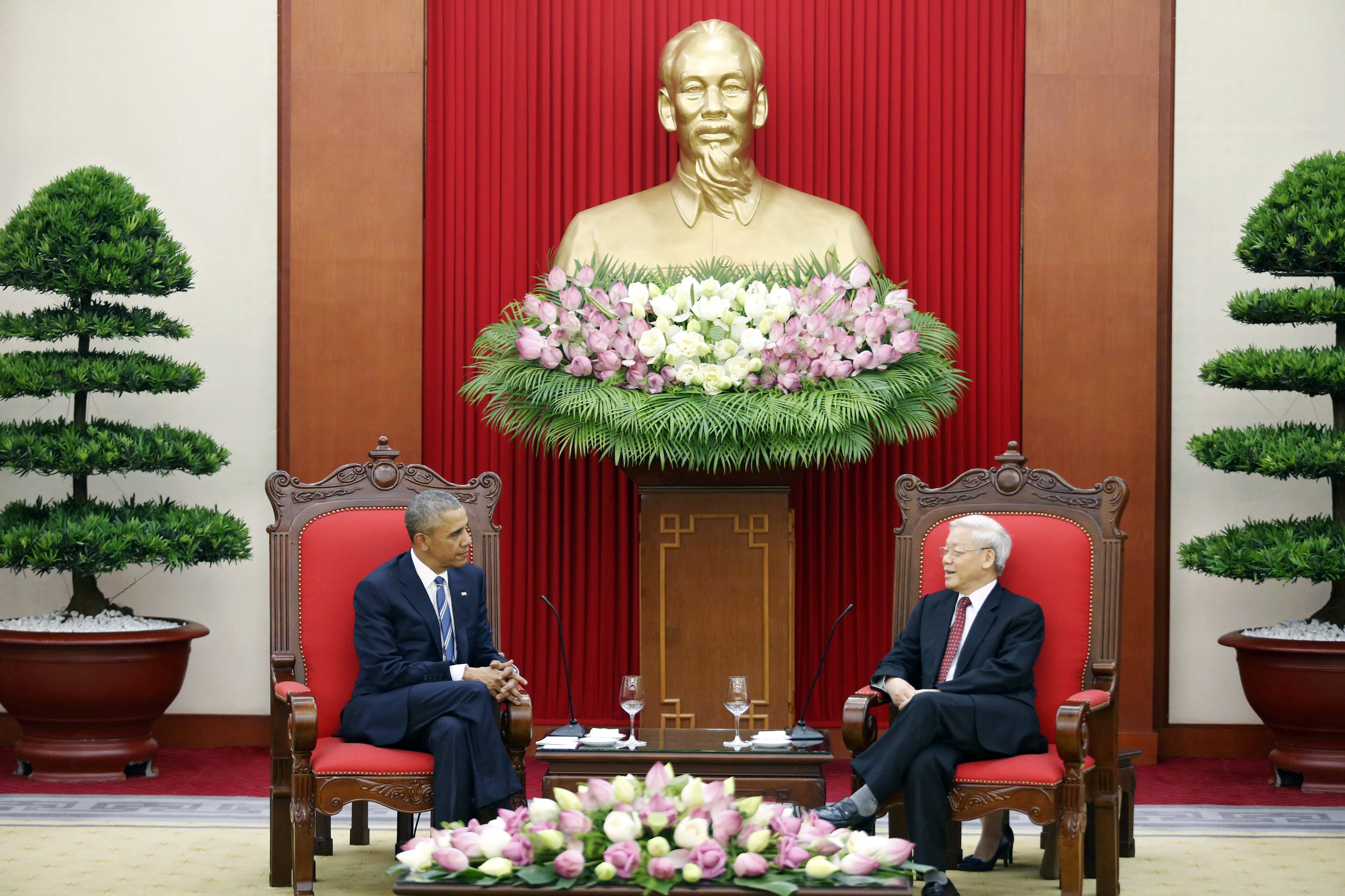 President Barack Obama and Vietnam's Communist Party General Secretary Nguyen Phu Trong speak in Hanoi, Vietnam, on May 23.