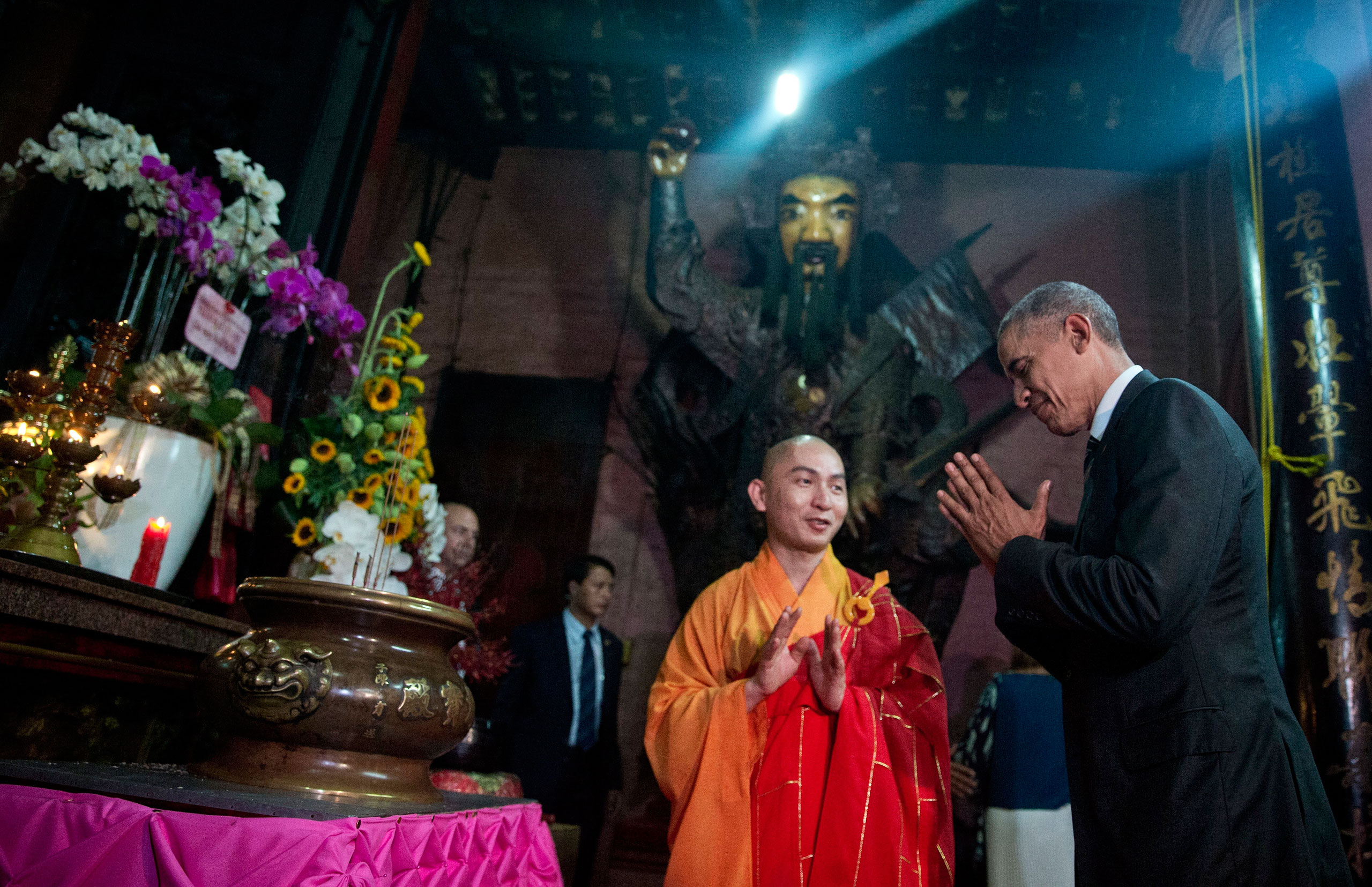 Obama visits the Jade Emperor Pagoda in Ho Chi Minh City on May 24, during a weeklong trip to Asia