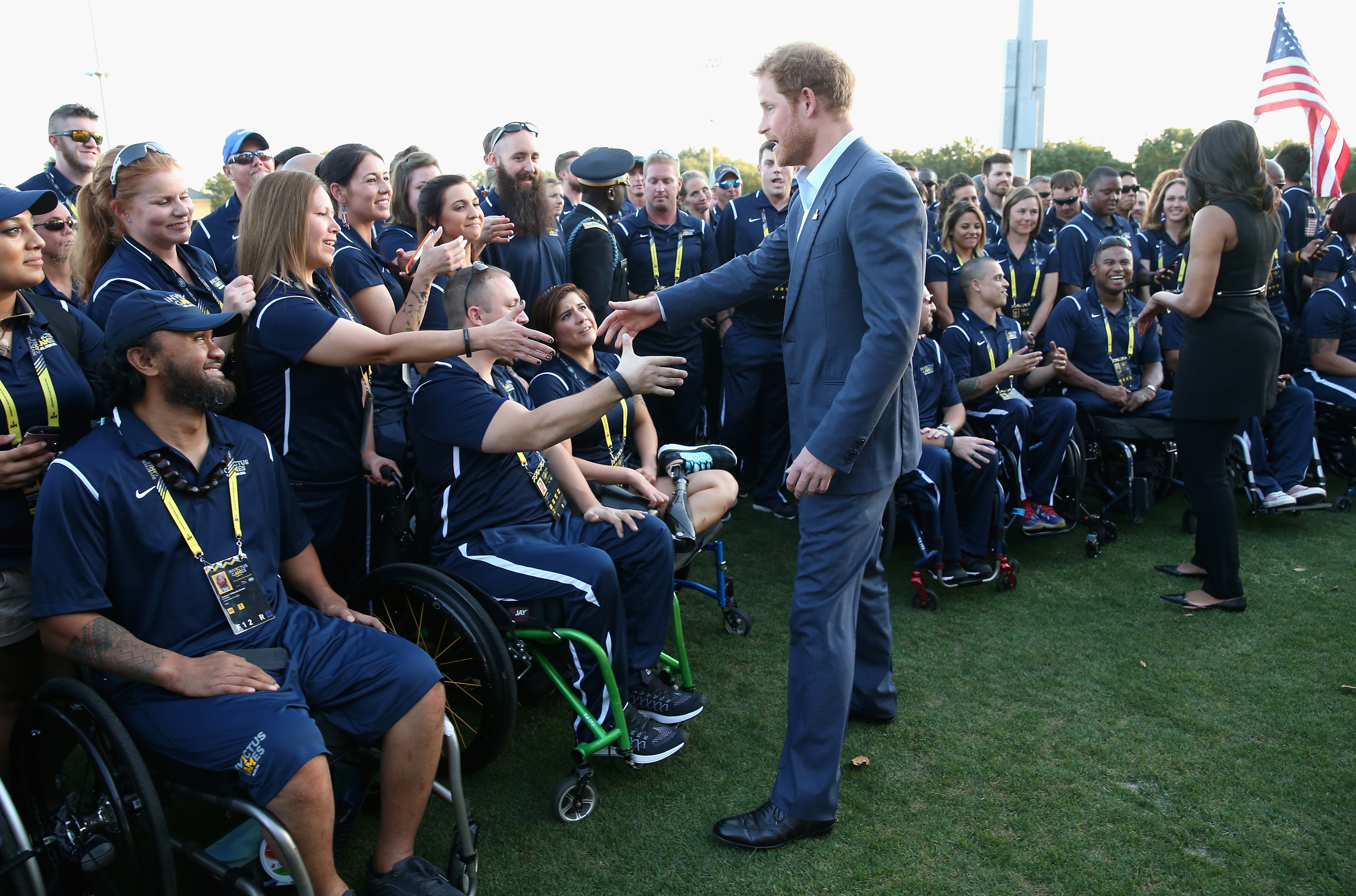Prince Harry meets the USA Invictus Team ahead of the Opening Ceremony of the Invictus Games on May 8, 2016 in Orlando, Florida.