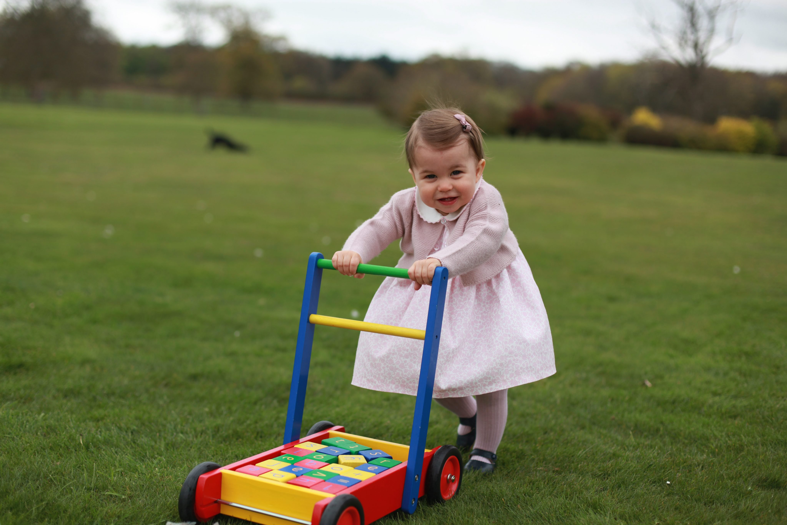 Princess Charlotte at the garden of Anmer Hall in Norfolk, U.K., in a photo made available by the Duke and Duchess of Cambridge on May 1, 2016.