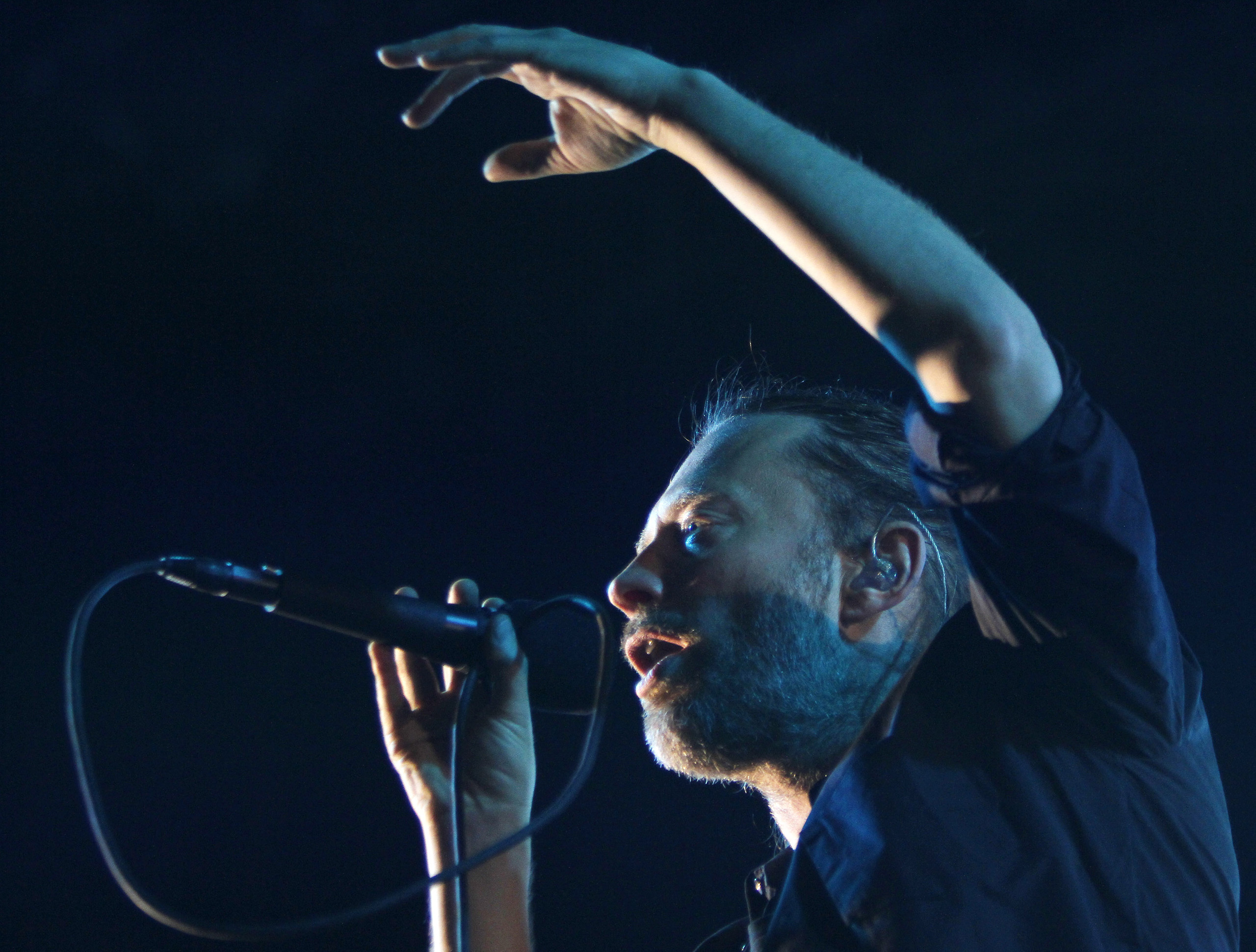 Thom Yorke of British band Radiohead performs at the Optimus Alive Festival in Alges, on the outskirts of Lisbon July 15, 2012.