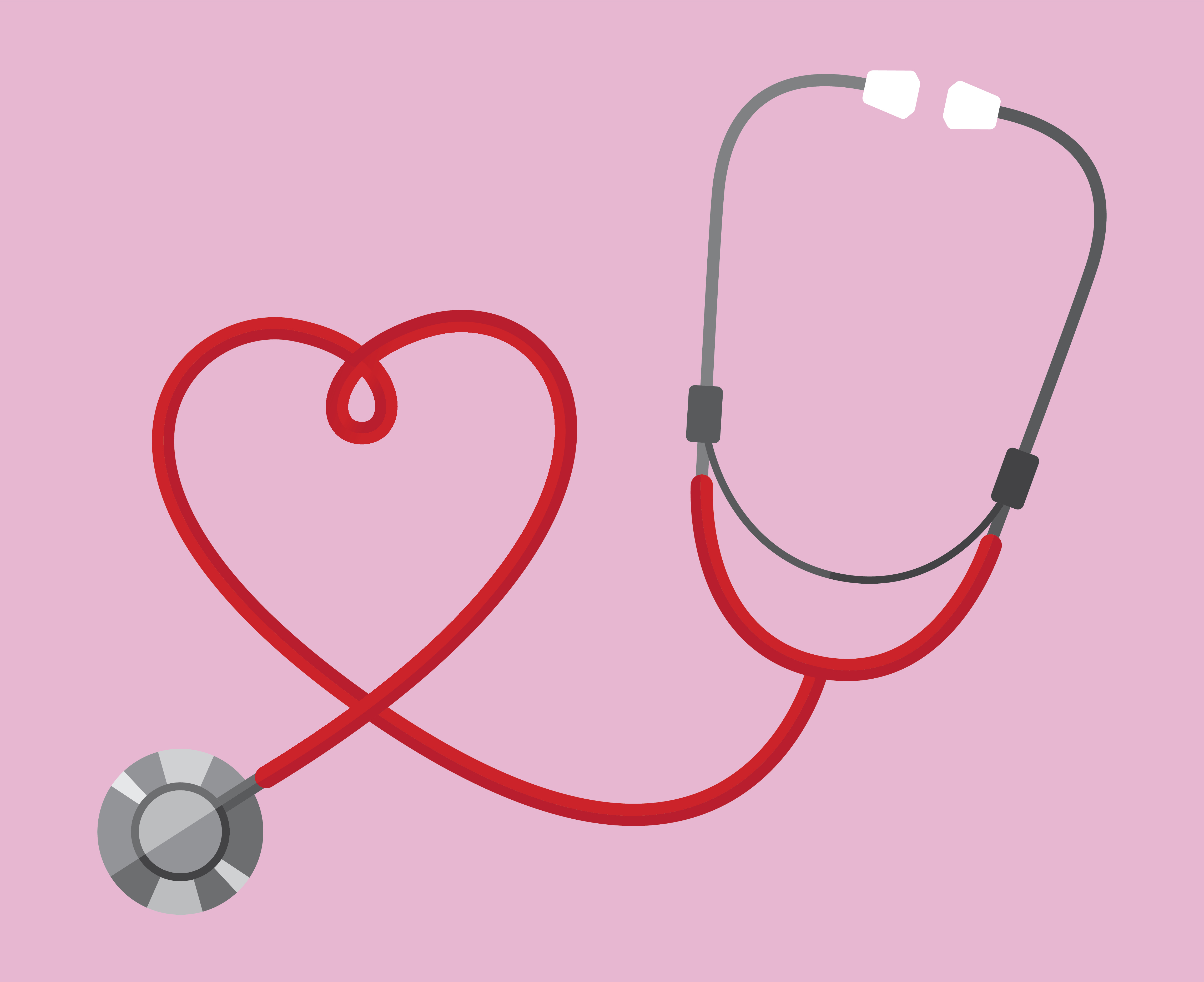 Vector illustration of a stethoscope twisted into the shape of a heart on a pink background.