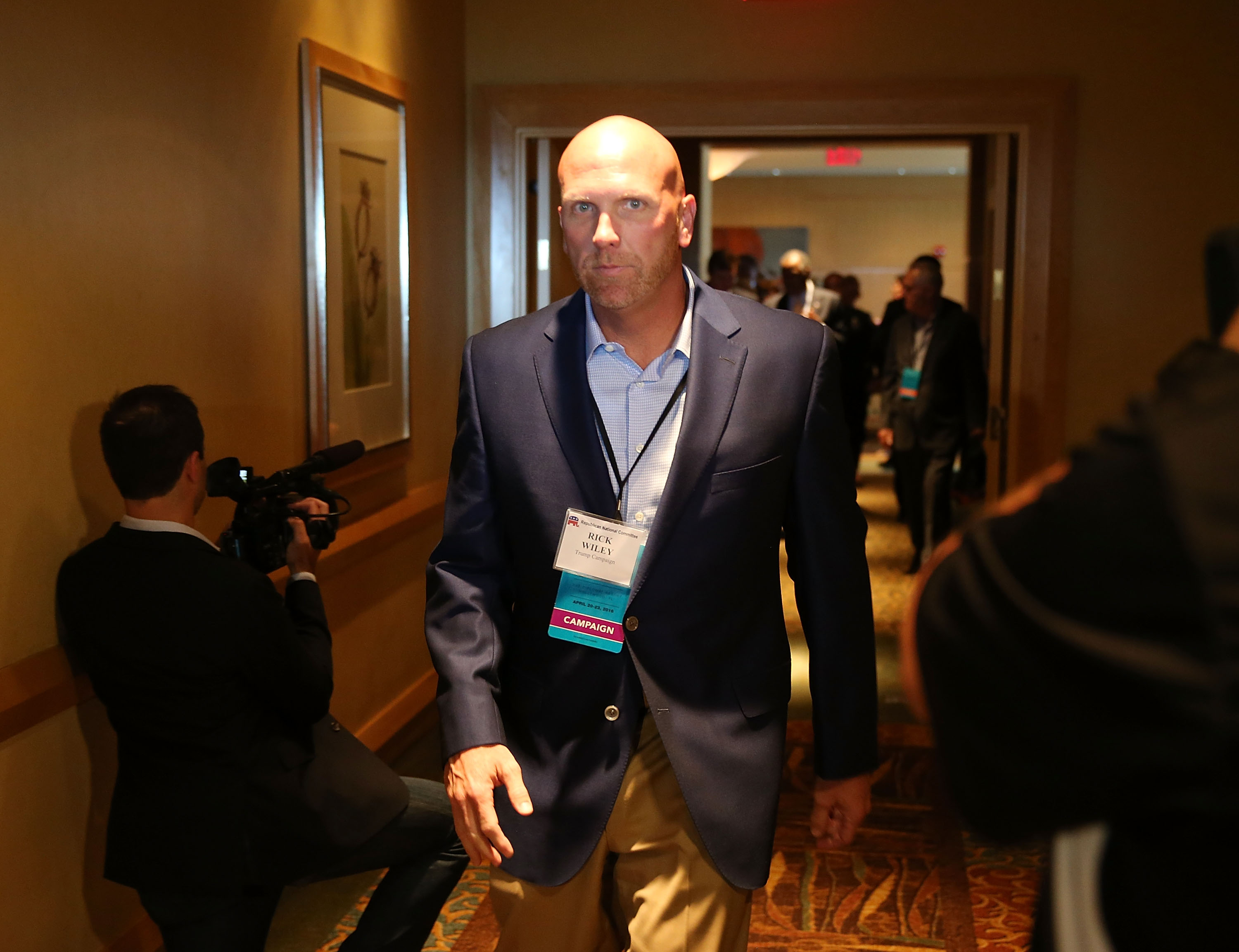 Republican presidential candidate Donald Trump's political strategist Rick Wiley arrives for a reception during the Republican National Committee Spring meeting on April 21, 2016 in Florida.