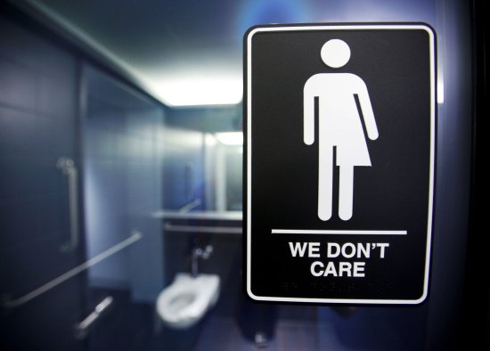 Neutral bathroom signs in public facilities indicate to patrons they are free to pee, regardless of their gender