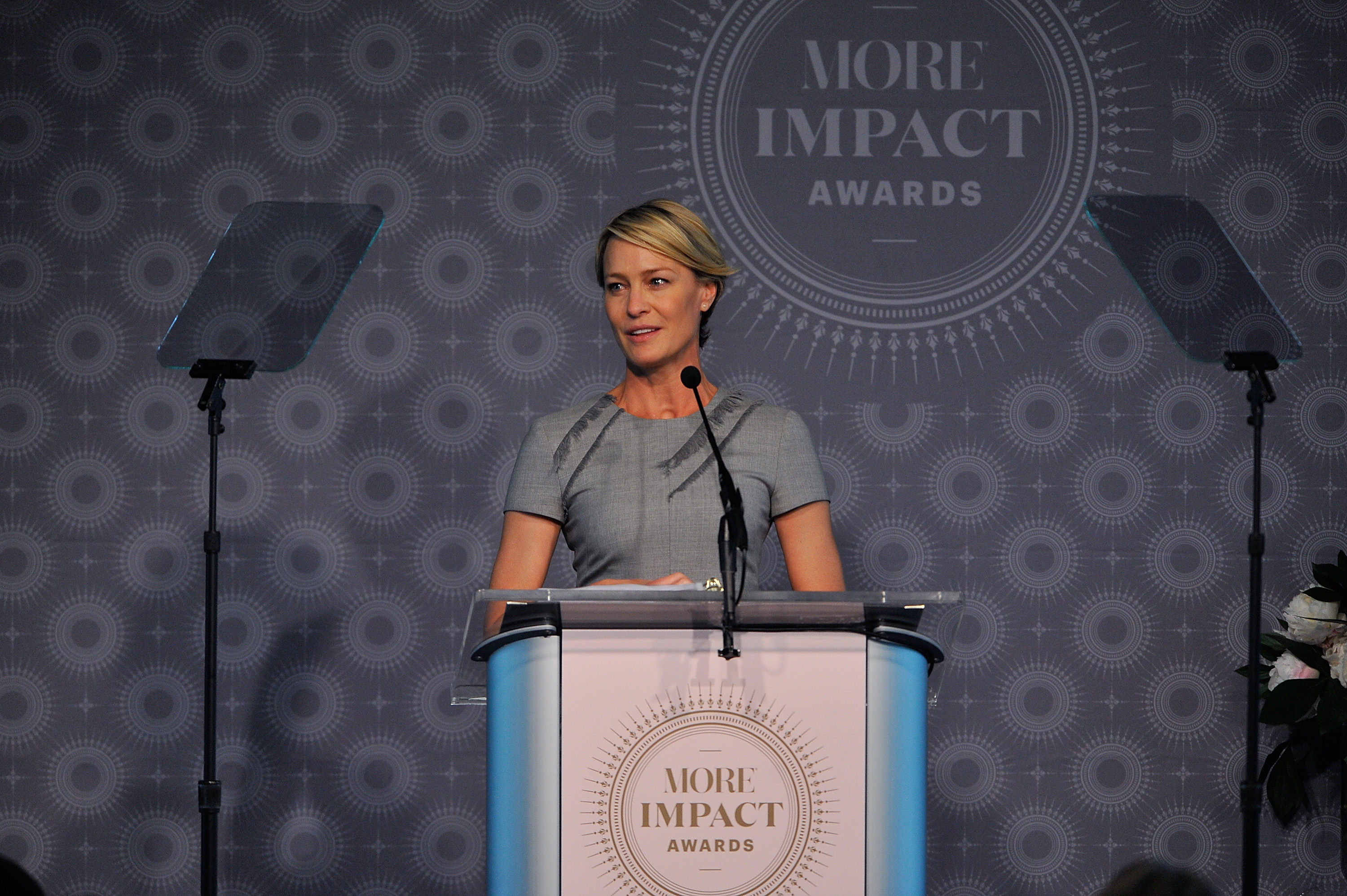 Actress Robin Wright speaks at the 2015 MORE Impact Awards Luncheon at The Newseum on June 29, 2015 in Washington, DC.