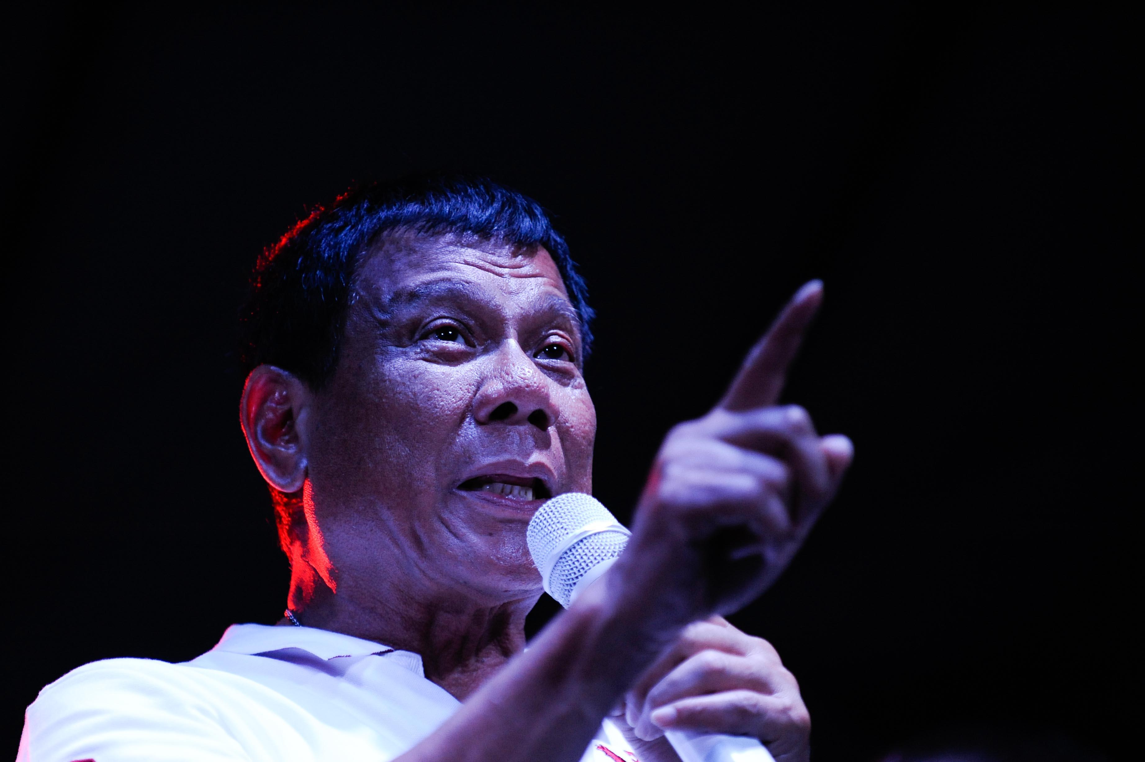 Rodrigo Duterte at a labor day campaign rally in Manila on May 1, 2016.