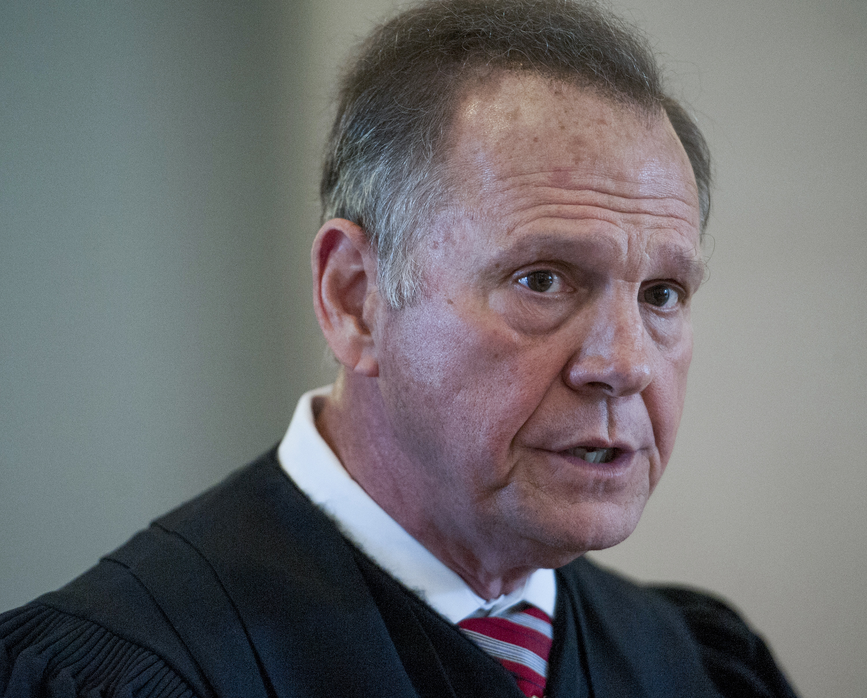 Roy Moore speaks during a news conference at the Judicial Building in Montgomery, Ala., on April 27, 2016.