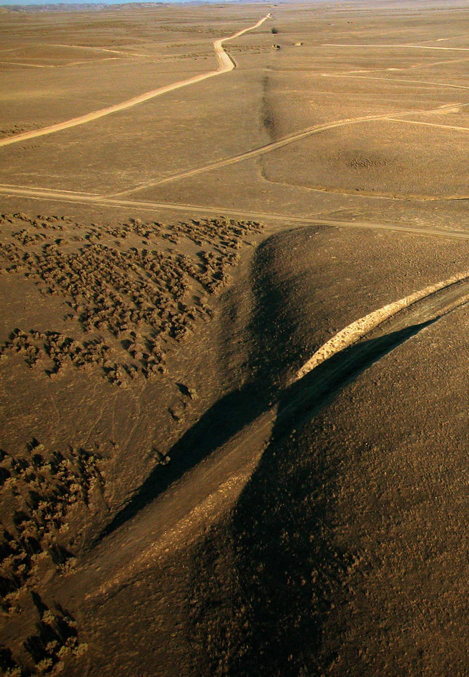 A view of the San Andreas Fault looks southeast in the Carrizo Plain, north of Wallace Creek, in California, in this undated U.S. Geological Survey photograph
