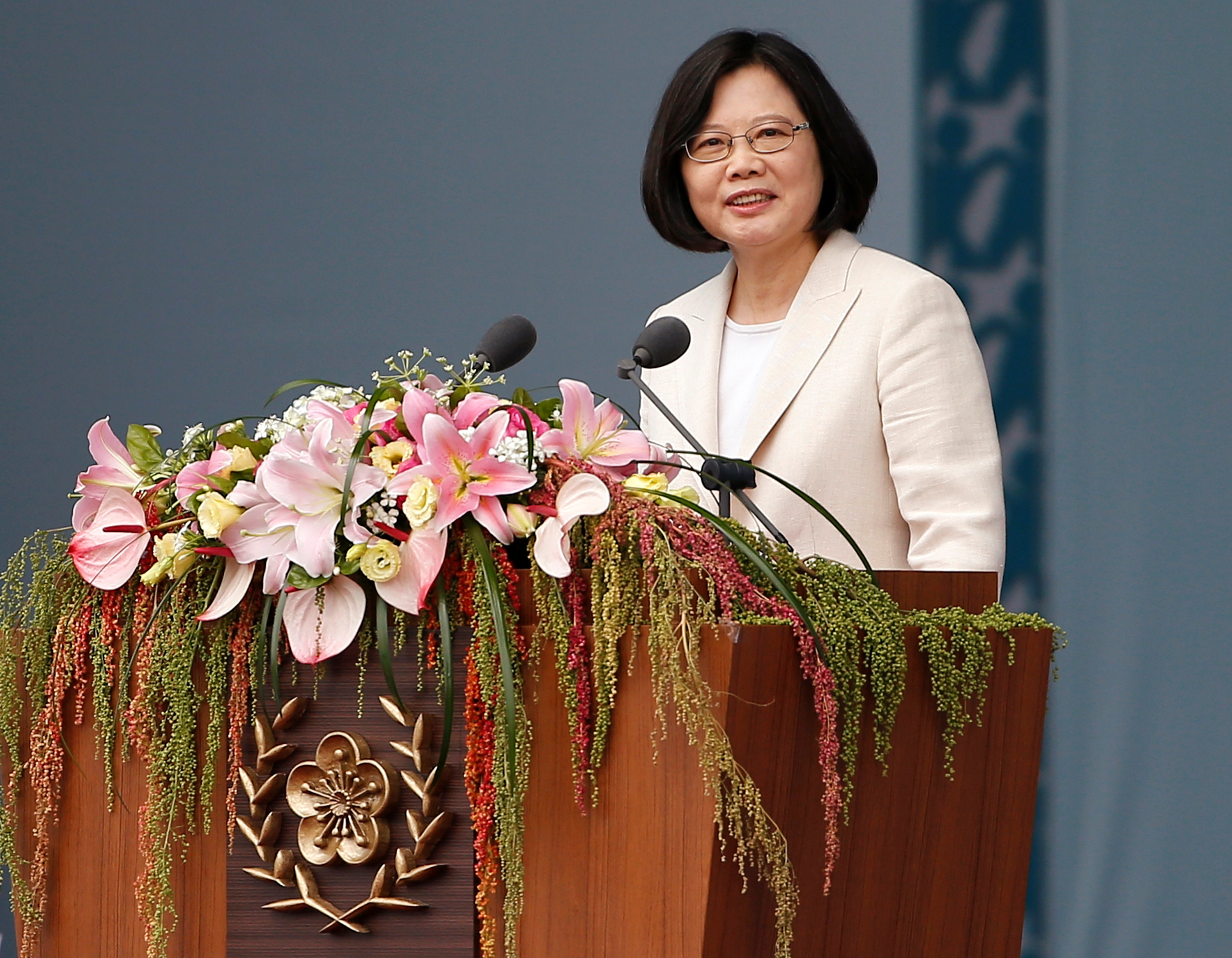 Taiwan's President Tsai Ing-wen gives a speech during her inauguration ceremony in Taipei on May 20, 2016