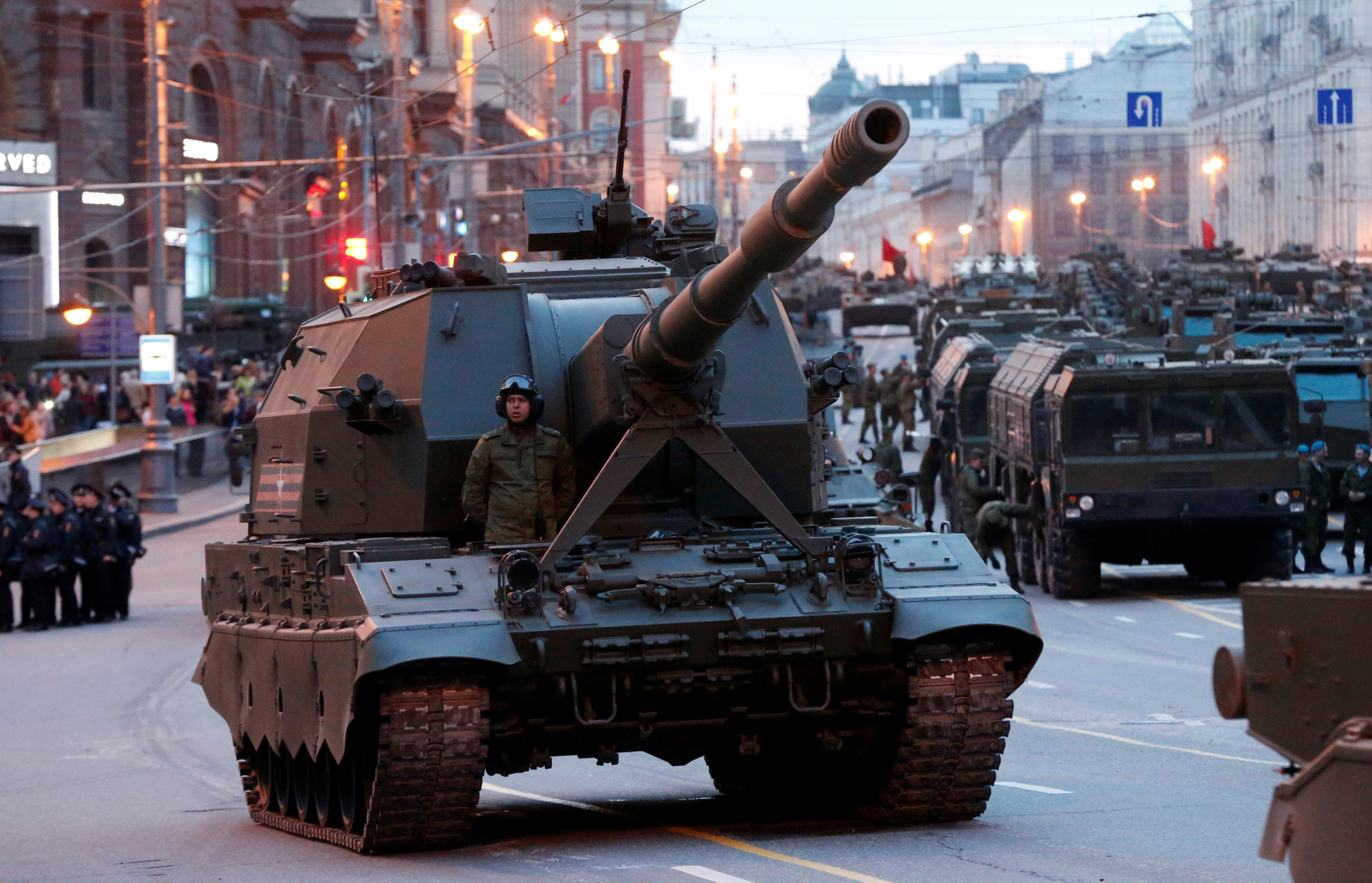 Russian military vehicles are parked in Tverskaya street before moving towards Red Square for a rehearsal for the Victory Day parade in central Moscow, Russia, April 28, 2016.