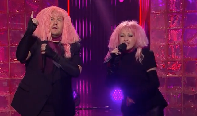 Cyndi Lauper and James Corden perform 'Girls Just Want Equal Funds'