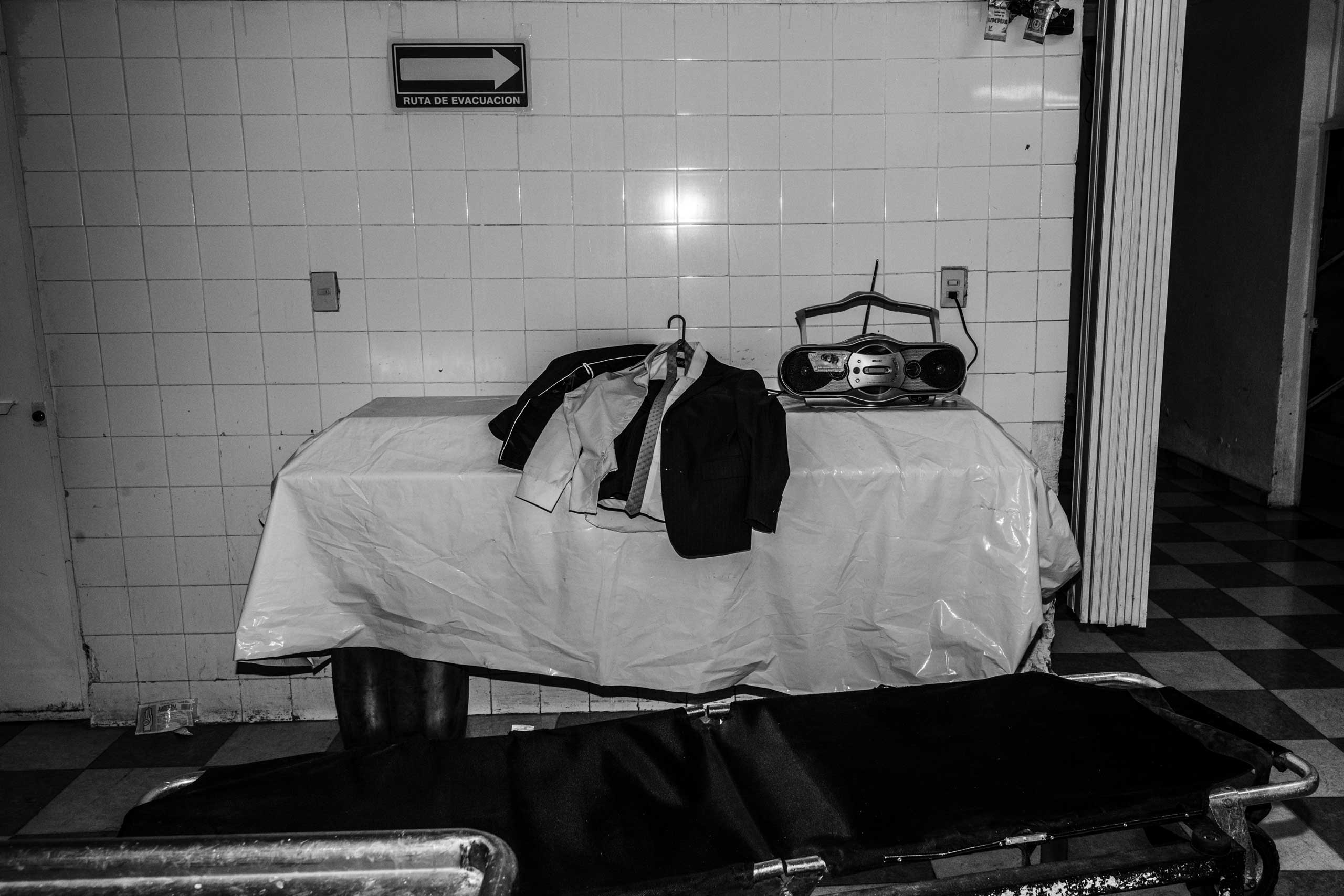 The clothes of a deceased person are ready to be used. March 7, 2016.