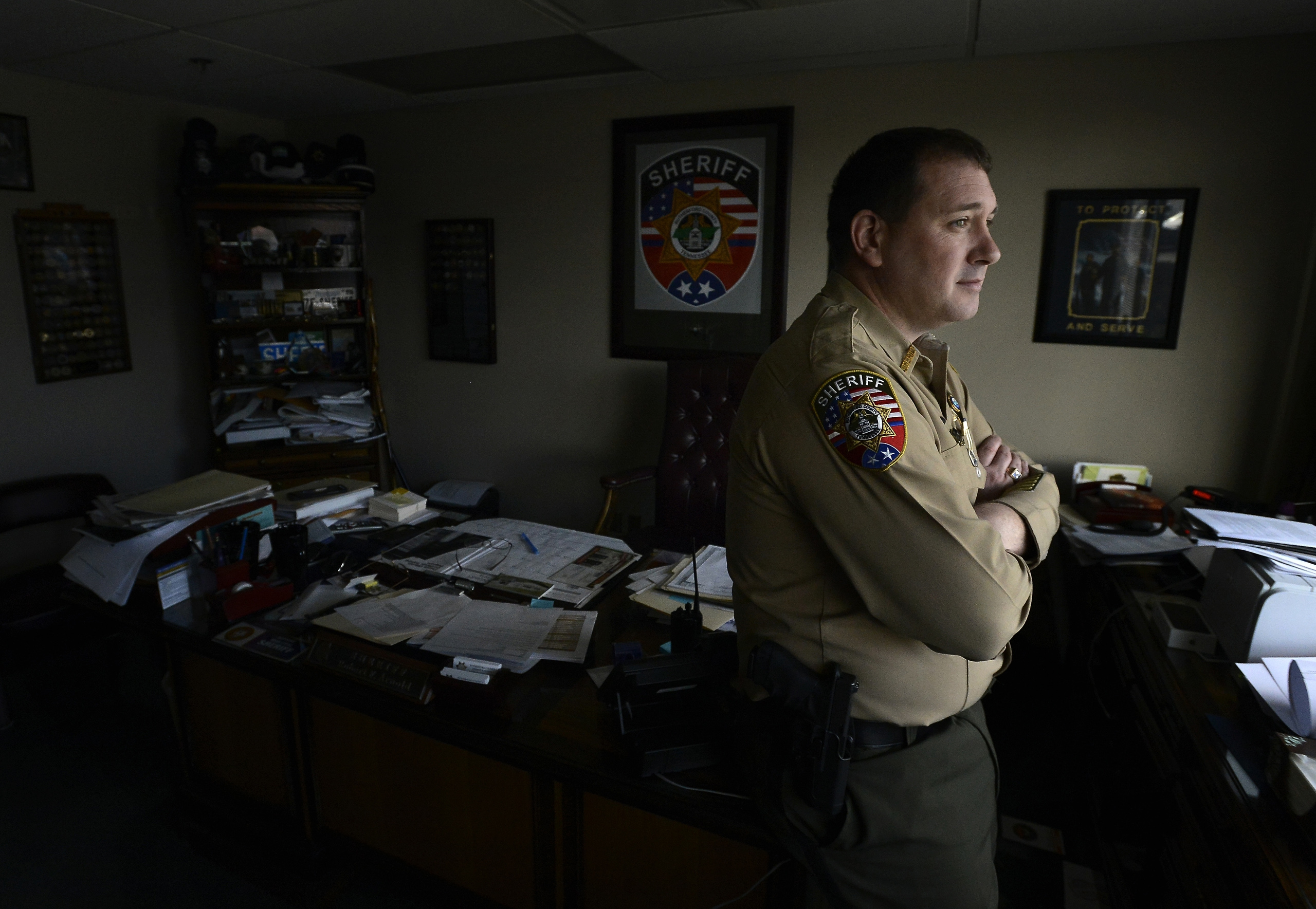 Rutherford County Sheriff Robert F. Arnold stands in his office in Murfreesboro, Tenn. on Jan. 27, 2016.