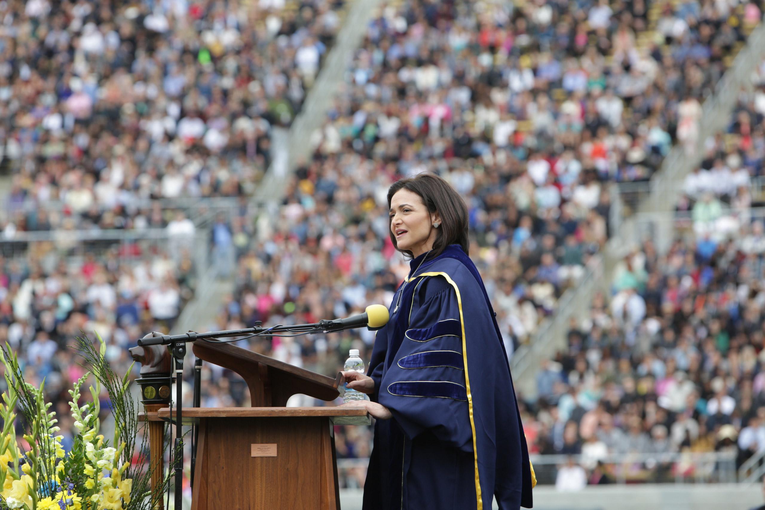 Sheryl Sandberg speaking at the University of California Berkeley commencement on May 14, 2016.