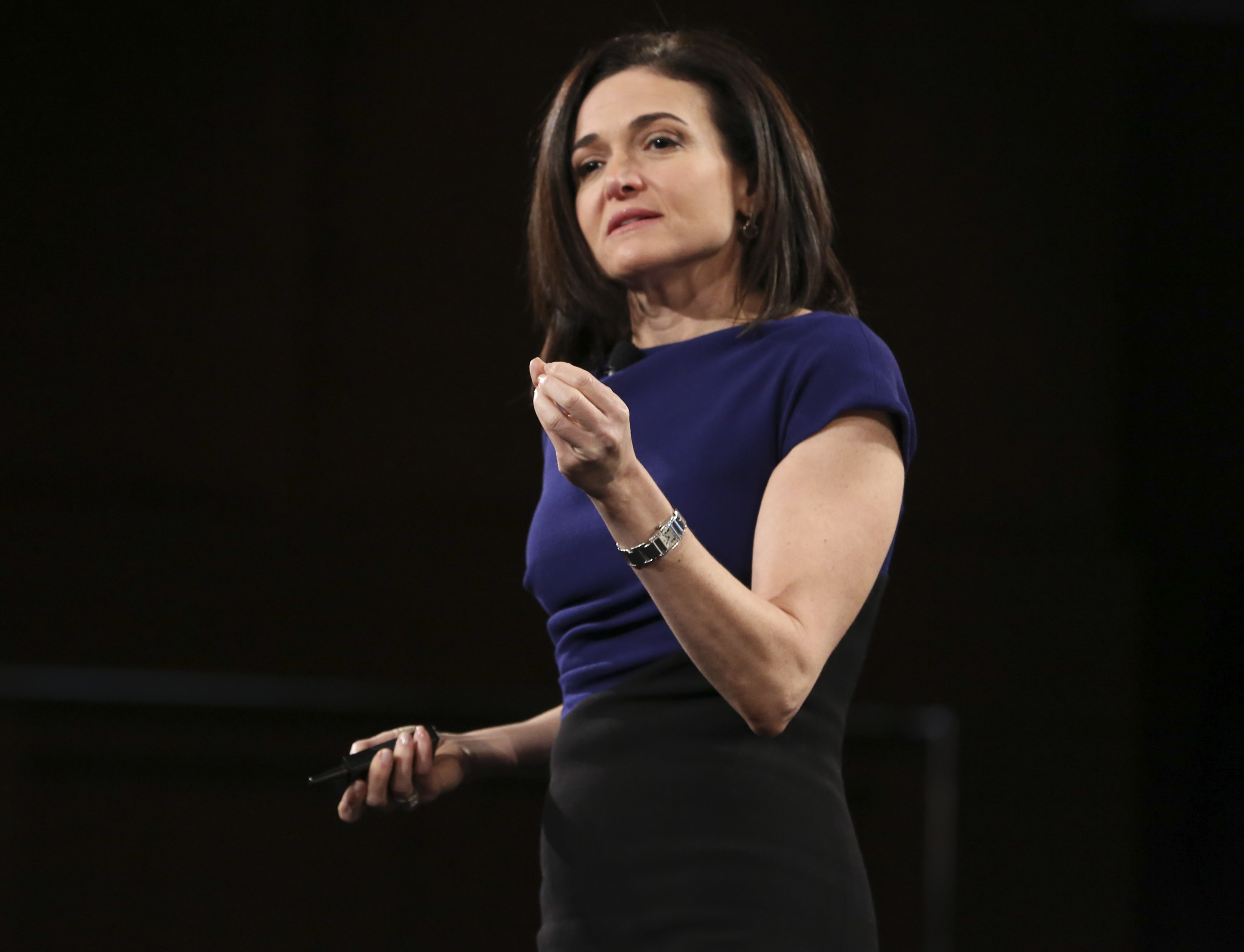 Facebook COO Sheryl Sandberg speaks on stage at the 2016 MAKERS Conference Day 2 at the Terrenea Resort in Rancho Palos Verdes, Calif. on Feb. 2, 2016.
