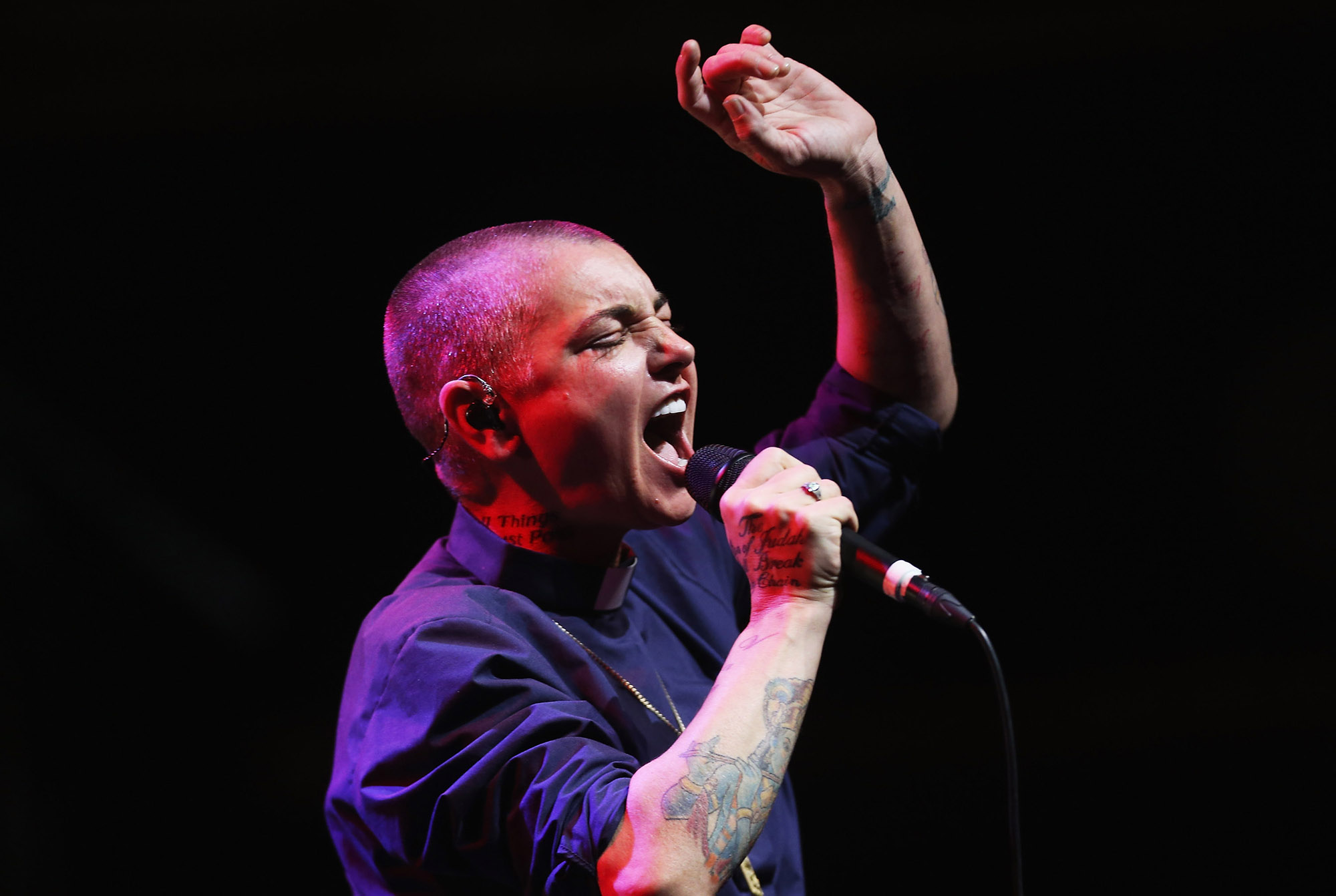 SYDNEY, AUSTRALIA - MARCH 19:  Sinead O'Connor performs live for fans  at Sydney Opera House on March 19, 2015 in Sydney, Australia.  (Photo by Don Arnold/WireImage)