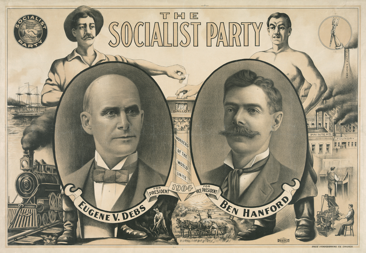 Antique poster for the socialist presidential ticket of 1904, with Eugene V Debs and Ben Hanford; lithograph, 1904.
