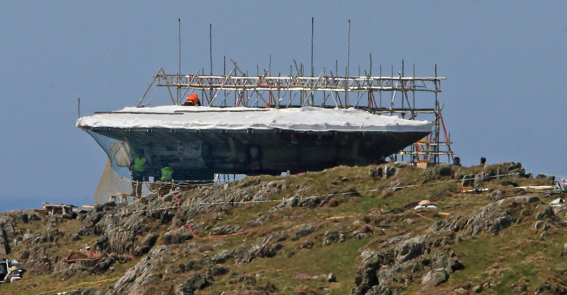 A set is created in Malin Head, Co Donegal Ireland, as filming for the next Star Wars movie will take place there, May 12, 2016.