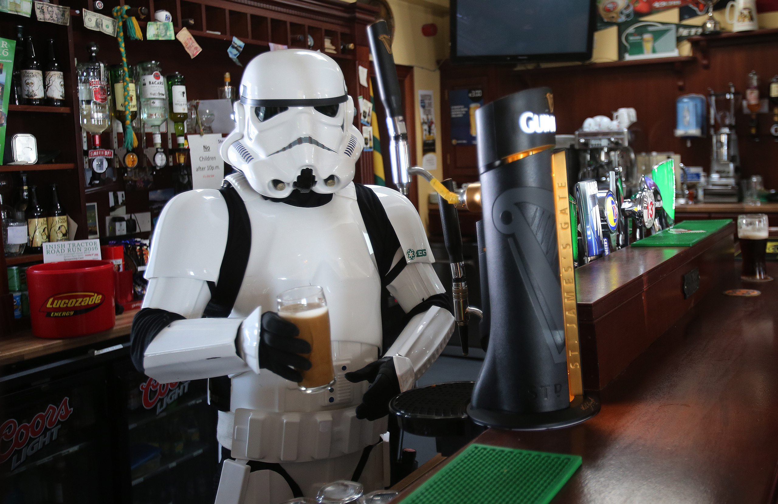 JJ McGettigan from the Emerald Garrison, a star Wars costuming club, in Farrens Bar in Malin Head, Co Donegal Ireland, as filming for the next Star Wars movie will take place there, May 12, 2016.